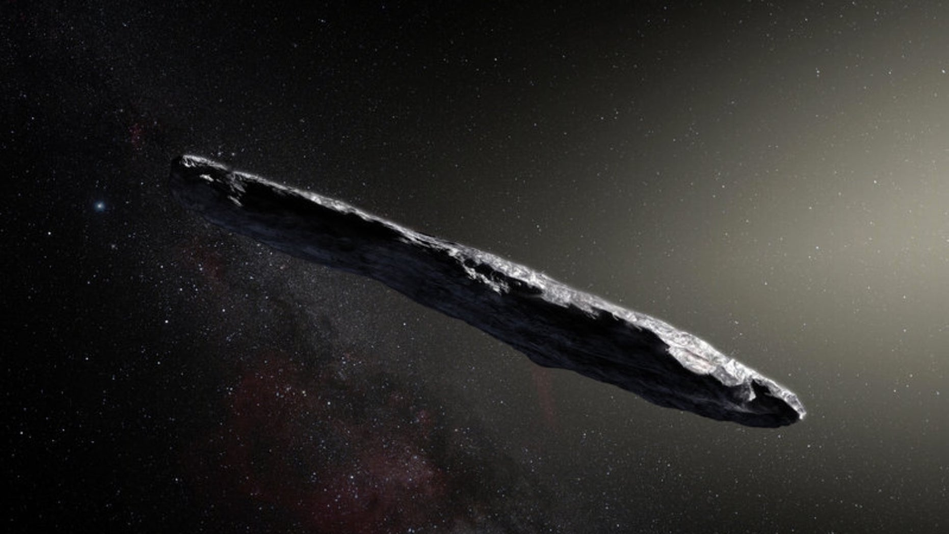 An artist's depiction of Oumuamua, the first detected interstellar object.