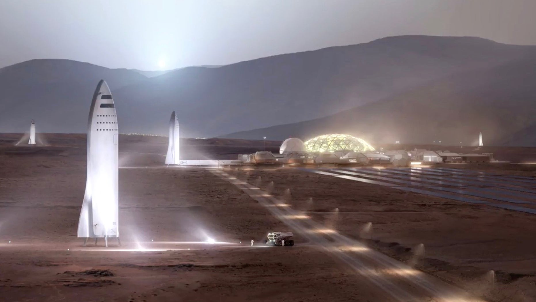 "Artist's illustration of SpaceX ""BFR"" spaceships on the surface of Mars."