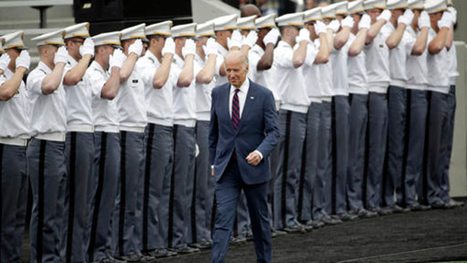 Vice President Joe Biden arrives for a graduation and commissioning ceremony at the U.S. Military Academy on Saturday, May 21, 2016, in West Point, N.Y.