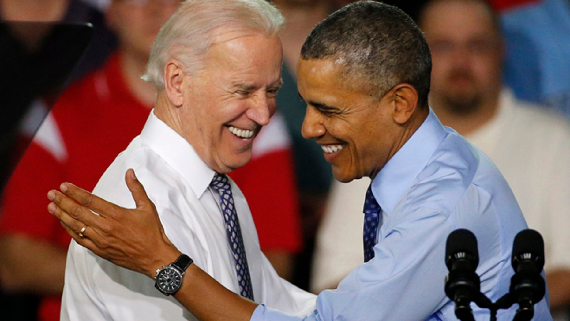 April 16, 2014: President Obama is introduced by Vice President Joe Biden as he arrives at the Community College of Allegheny County West Hills Center in Oakdale, Pa.