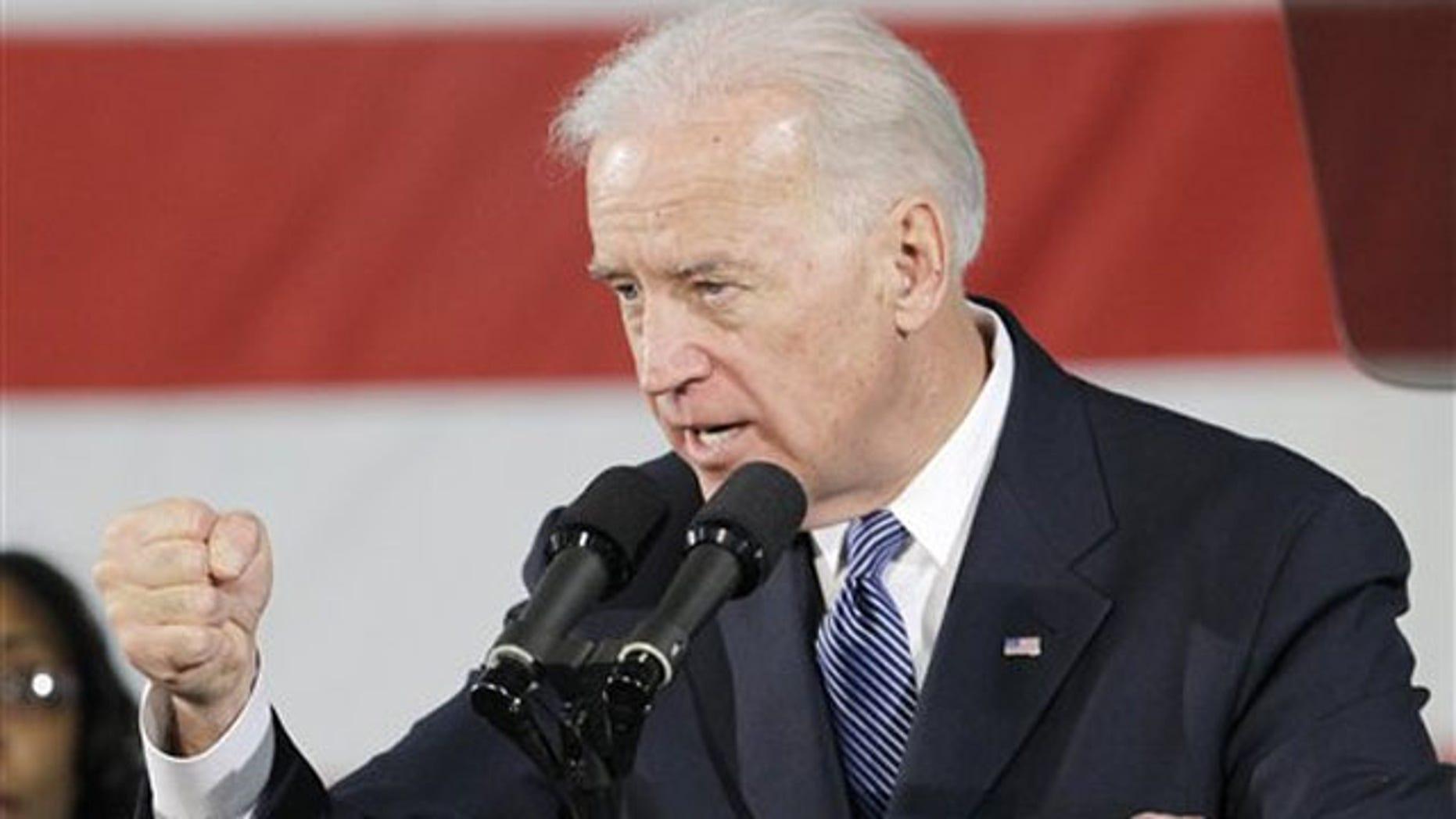 Vice President Joe Biden speaks at Ener1, Inc., in Greenfield, Ind., Jan. 26.