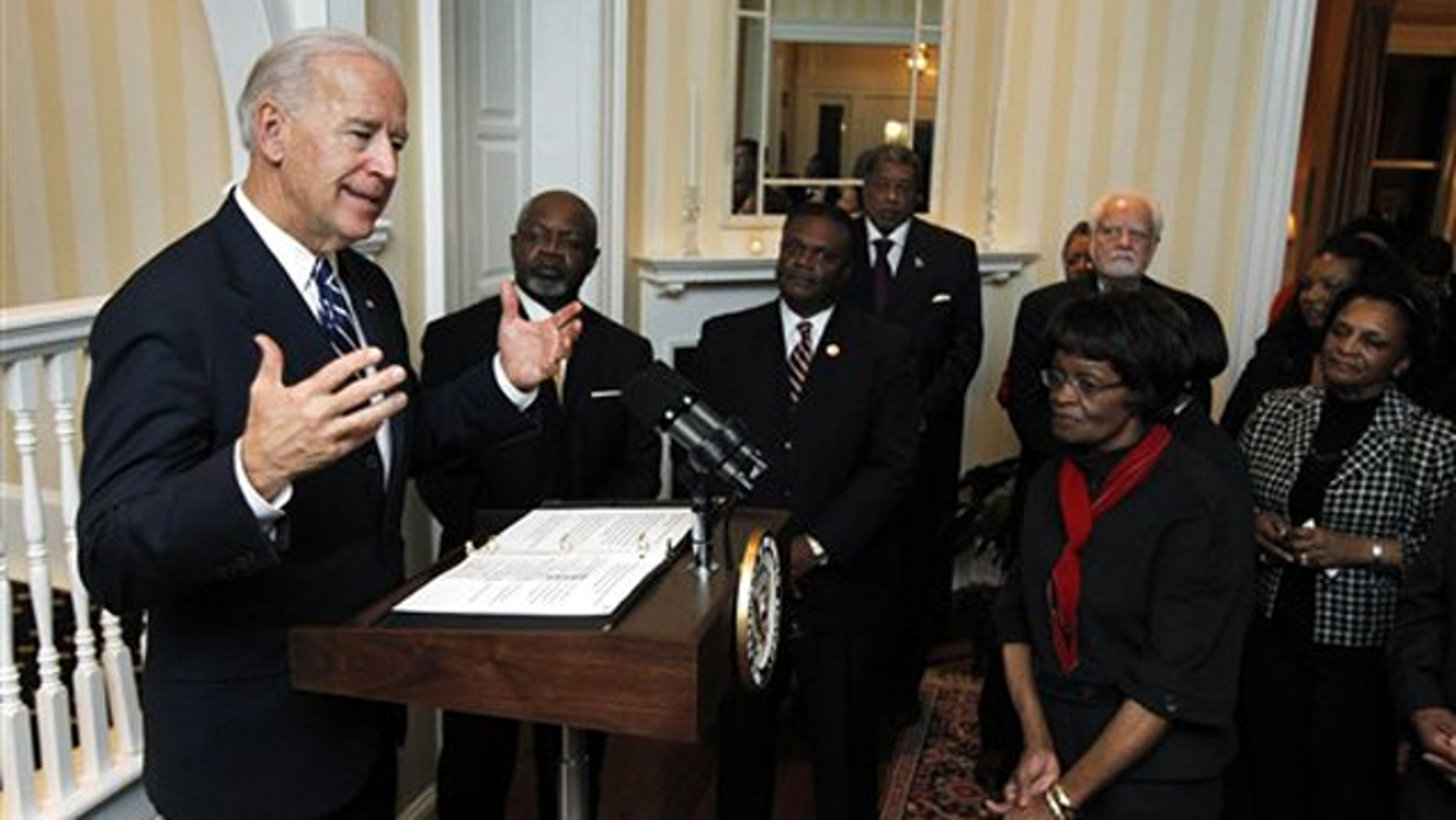 Vice President Biden speaks to guests in his official residence at the Naval Observatory in Washington Feb. 15 in honor of Black History Month.