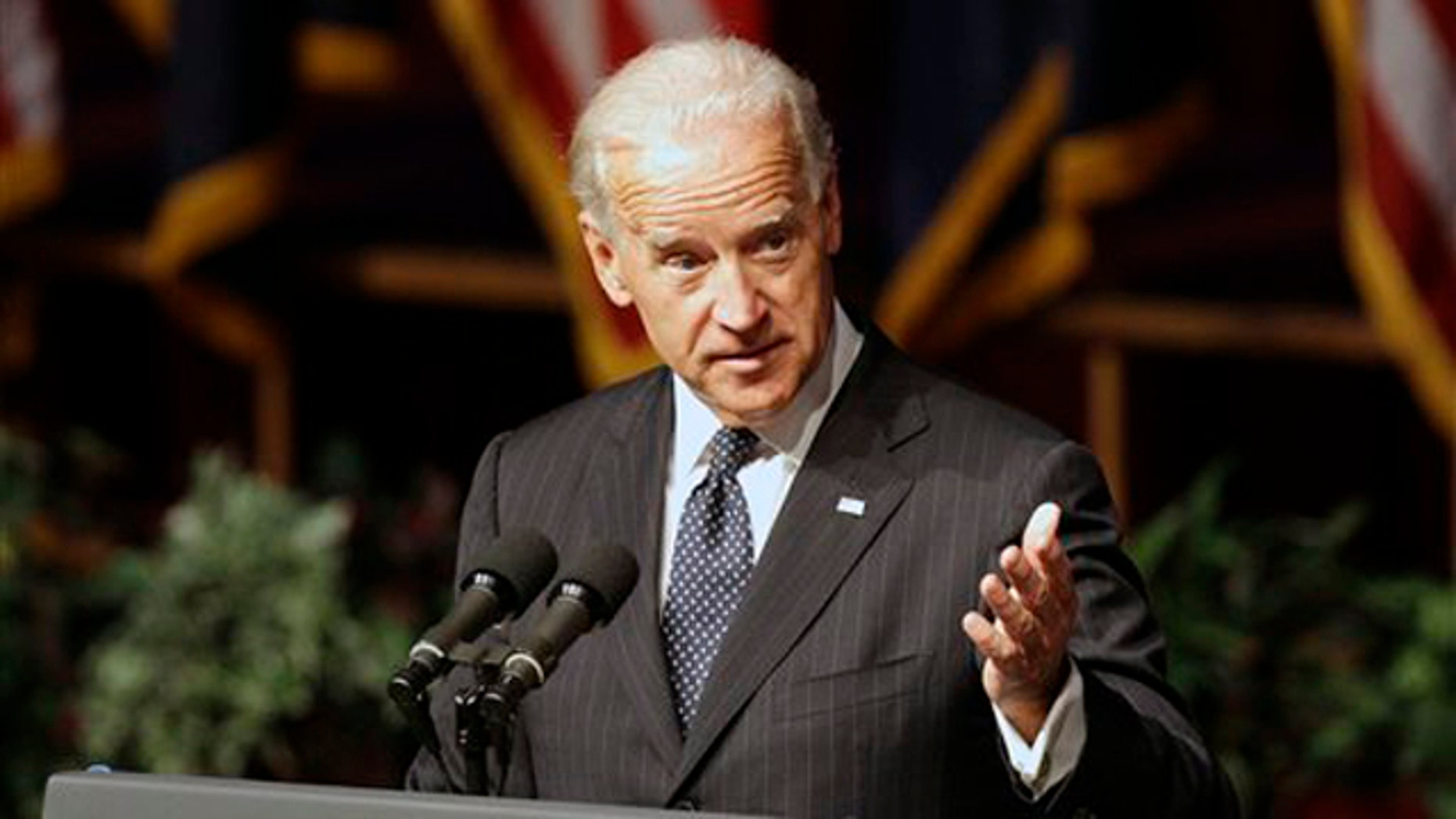 Vice President Joe Biden is shown speaking during funeral services for former U.S. Sen. Ted Stevens  Aug. 18 in Anchorage, Alaska. (AP Photo)