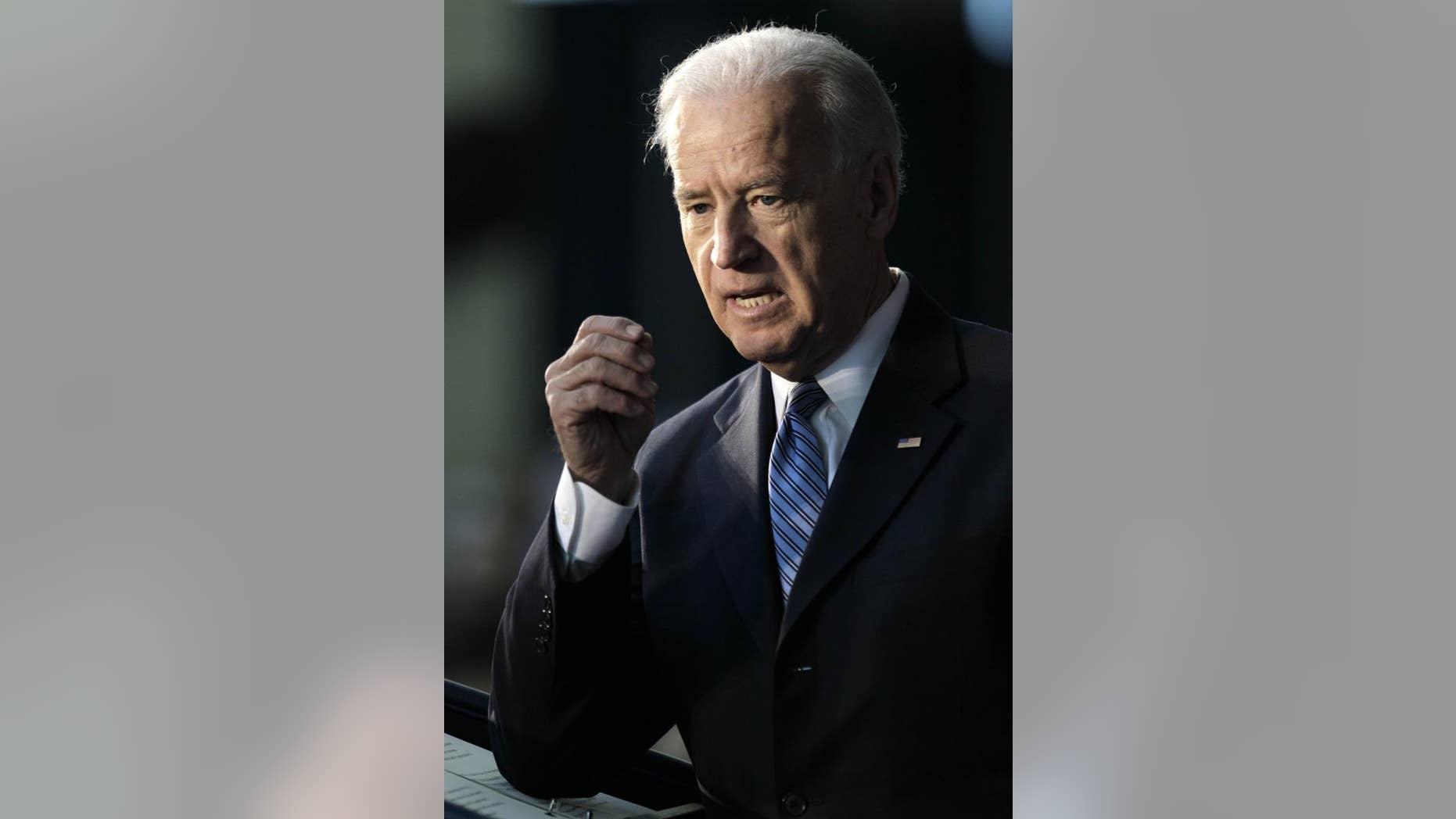 Vice President Joe Biden speaks at the McConnell Center at the University of Louisville in Louisville, Ky., Friday, Feb. 11, 2011. (AP Photo/Ed Reinke)