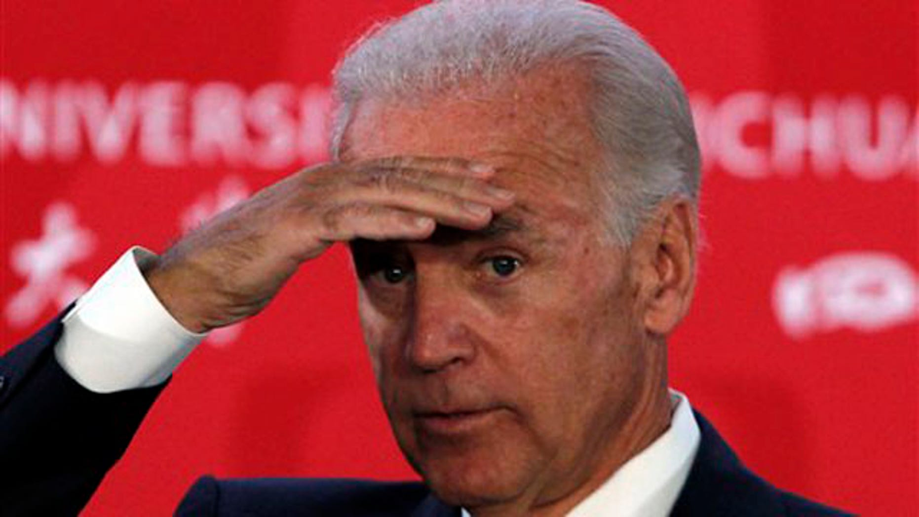 Vice President Biden looks for questions from audience members after delivering a speech at Sichuan University in Chengdu in southwestern China Aug. 21.
