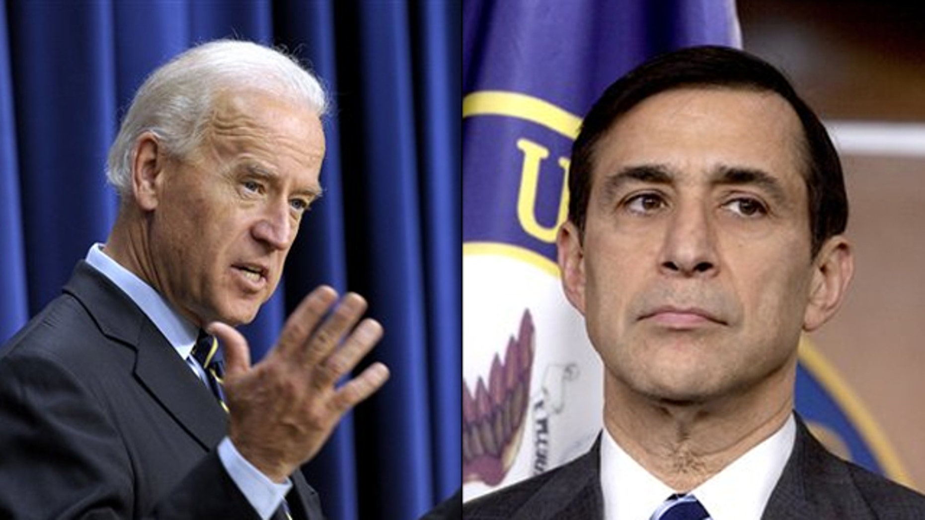 Shown here are Vice President Biden, left, and Rep. Darrell Issa. (AP Photos)