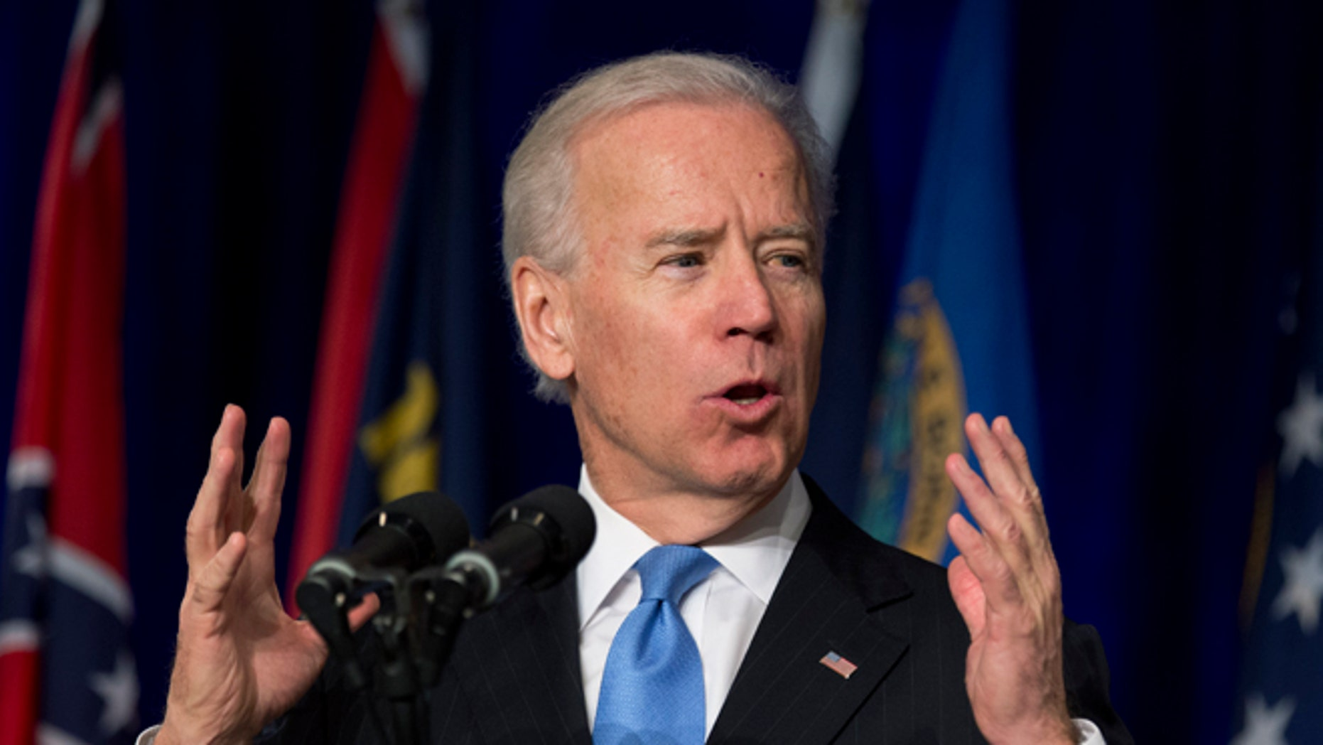 Feb. 27, 2013: Vice President Biden gestures as he speaks at the Winter-Spring meeting of the National Association of Attorneys General.