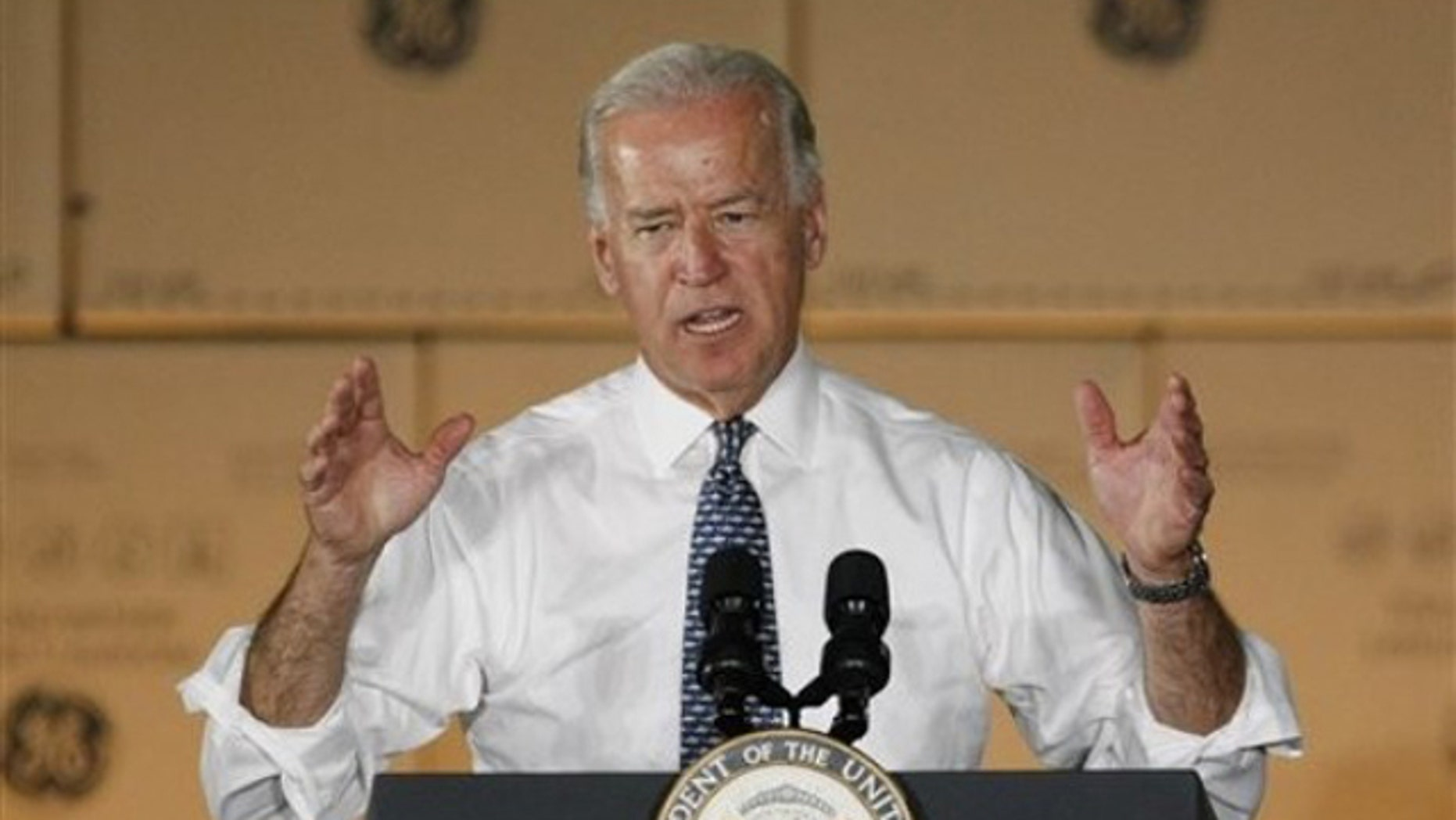 Vice President Biden speaks during a visit to the General Electric plant in Louisville, Ky., June 28. (AP Photo)