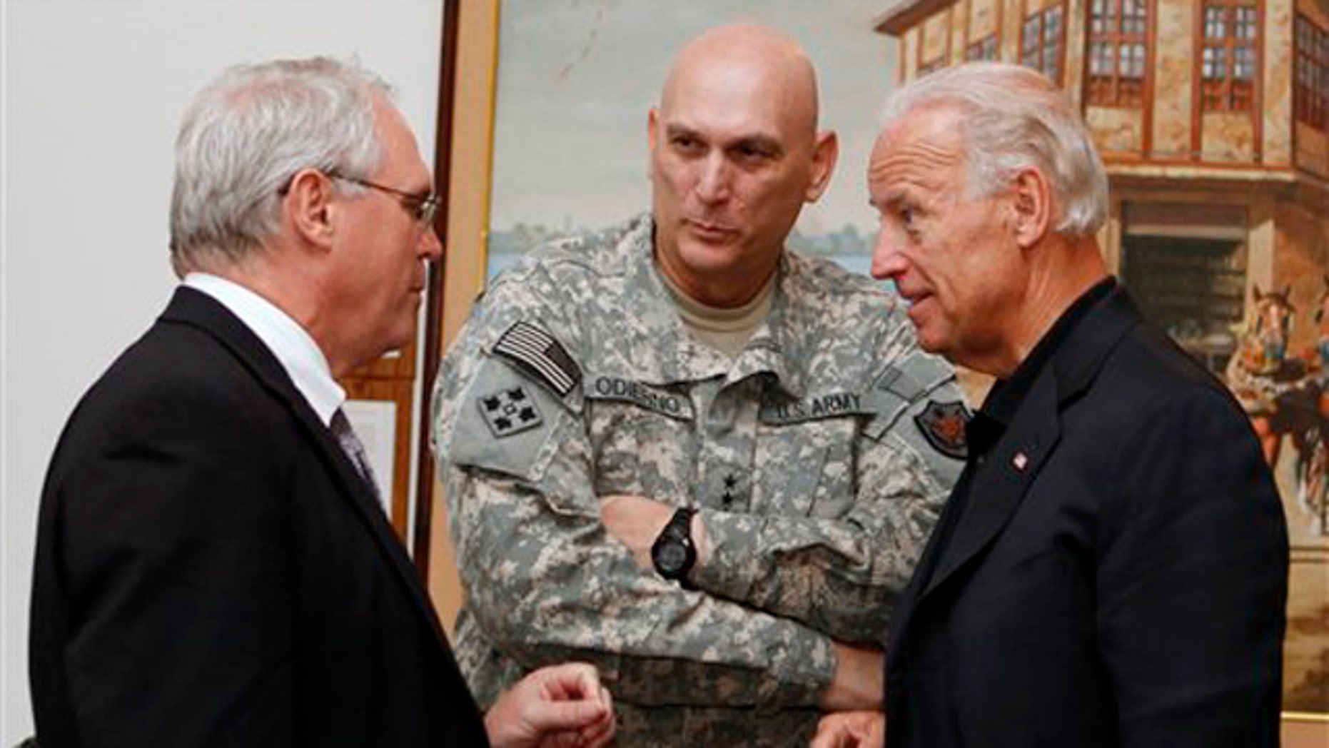 FILE: In this July 3 photo, Gen. Ray Odierno meets with Vice President Biden and U.S. Ambassador to Iraq Christopher Hill at the embassy in Baghdad. (AP Photo)