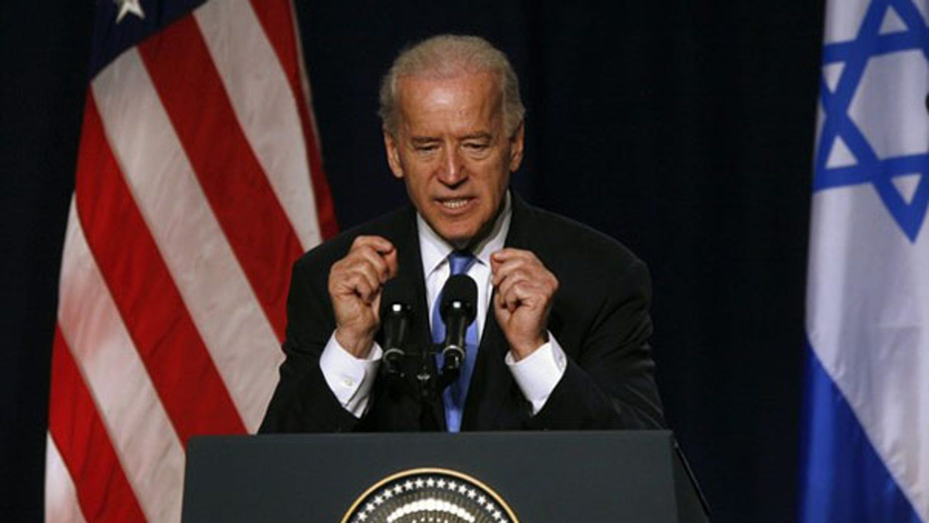 Vice President Biden speaks at Tel Aviv University March 11. (Reuters Photo)