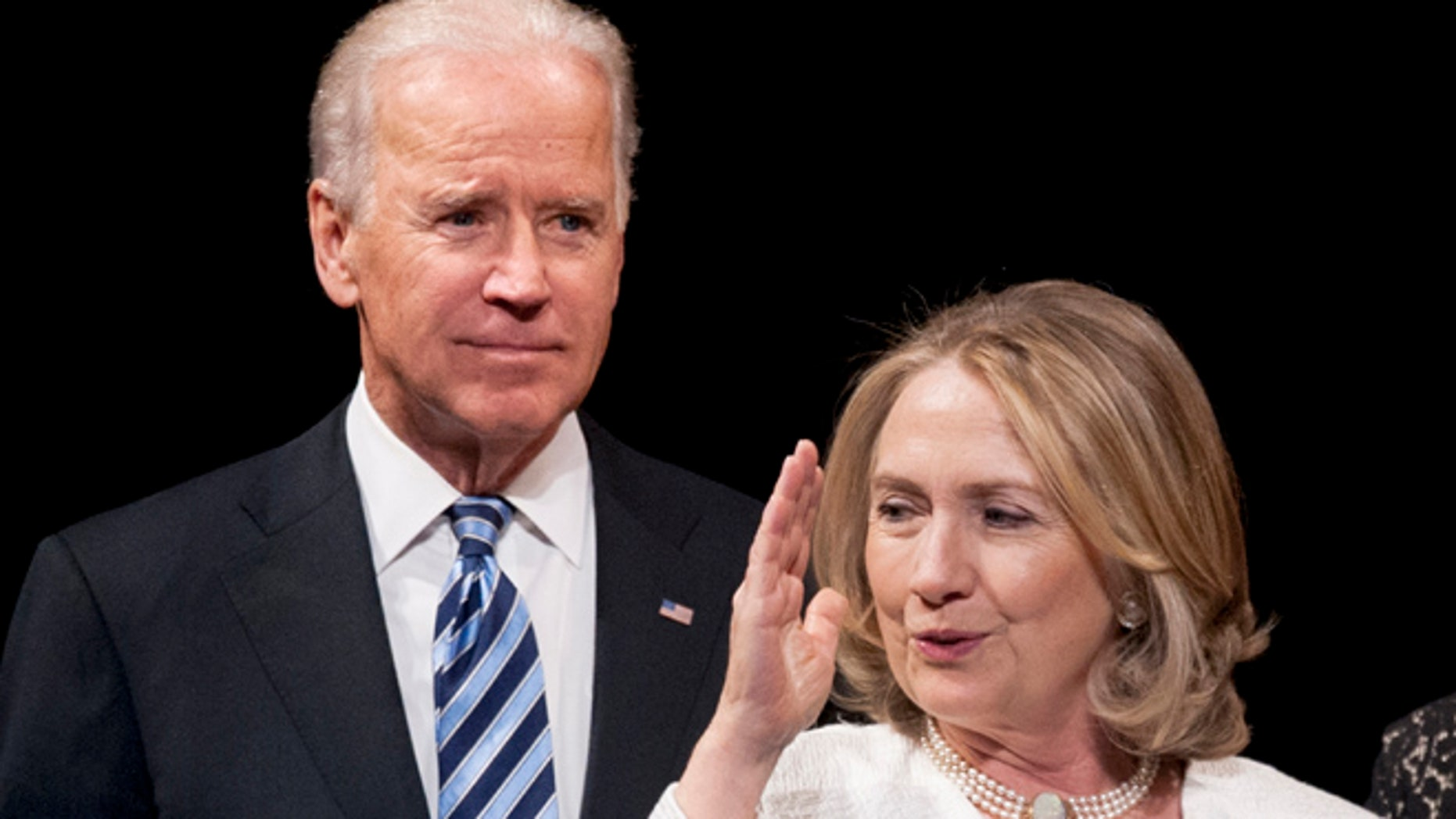 April 2, 2013: Vice President Joe Biden and former Secretary of State Hillary Rodham Clinton appear onstage at the Kennedy Center for the Performing Arts in Washington. (AP)