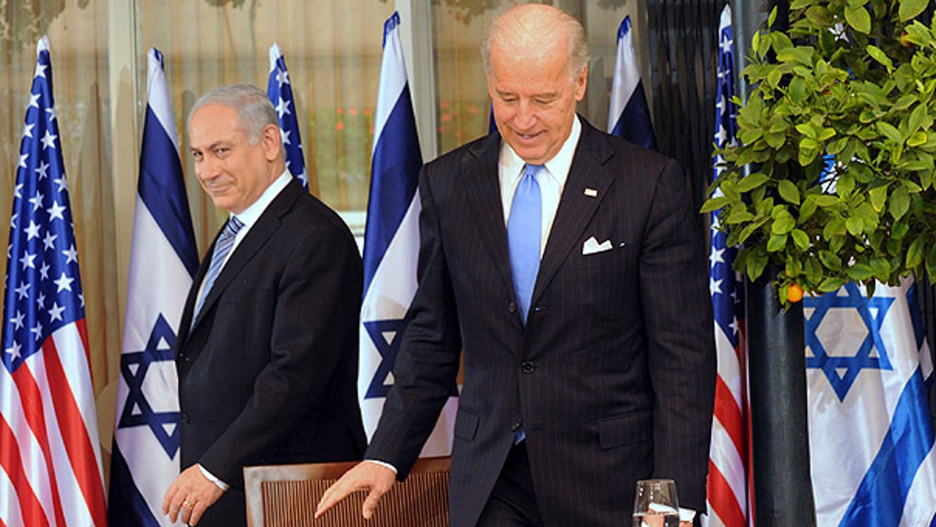 File: Israeli Prime Minister Benjamin Netanyahu and Vice President Joe Biden met in March at the prime minister's residence in Jerusalem.