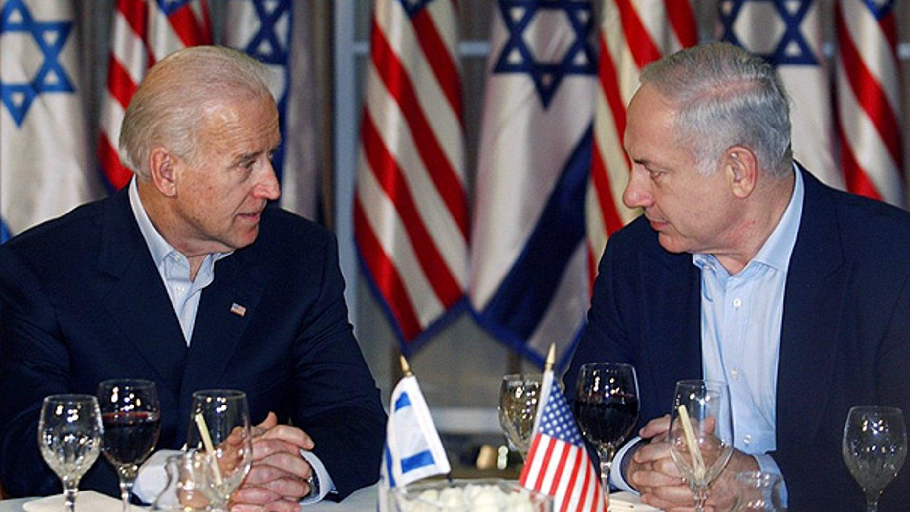 Mar. 9: Vice President Joe Biden sits with Israeli Prime Minister Benjamin Netanyahu before a dinner in Jerusalem.