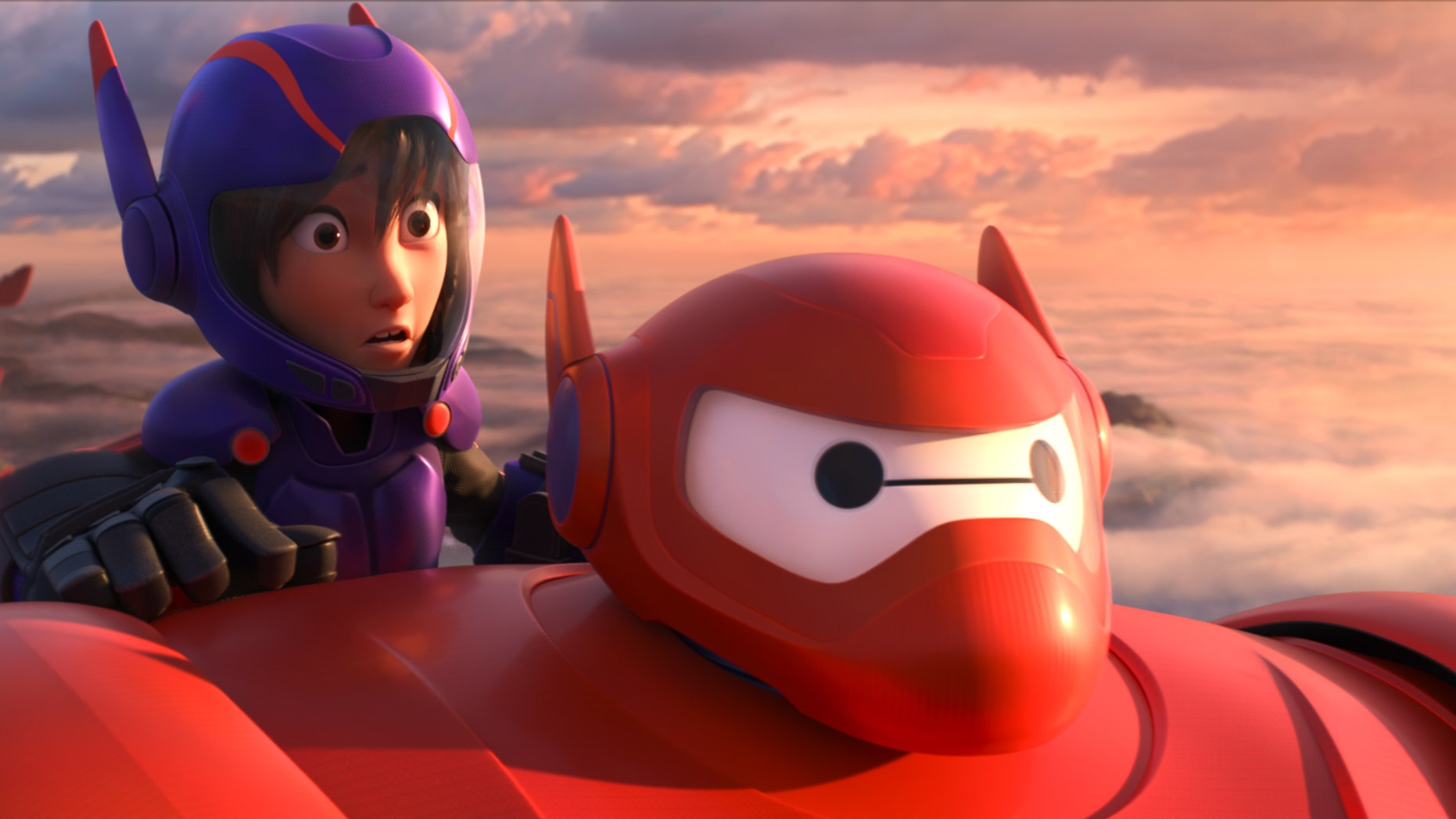 "Animated characters Hiro Hamada, voiced by Ryan Potter, left, and Baymax, voiced by Scott Adsit, in a scene from ""Big Hero 6."""
