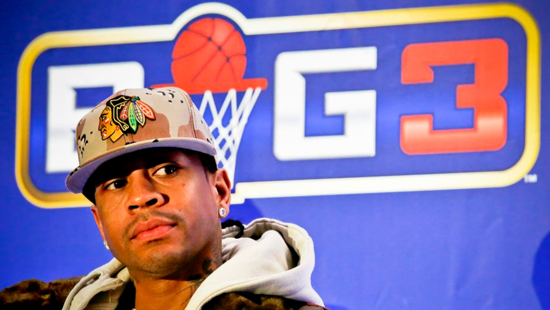 """Former NBA player Allen Iverson listens during a press conference launching the """"BIG3, a 3-on-3 half-court professional basketball league for retired players, Wednesday Jan. 11, 2017, in New York. Iverson will coach a team and play in the new league. (AP Photo/Bebeto Matthews)"""