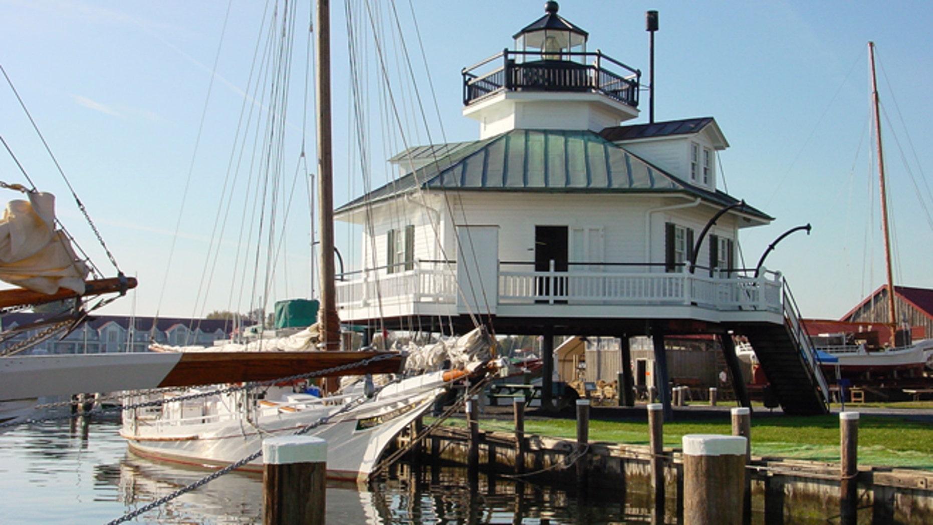 Hooper Strait Lighthouse and skipjack Nathan of Dorchester.