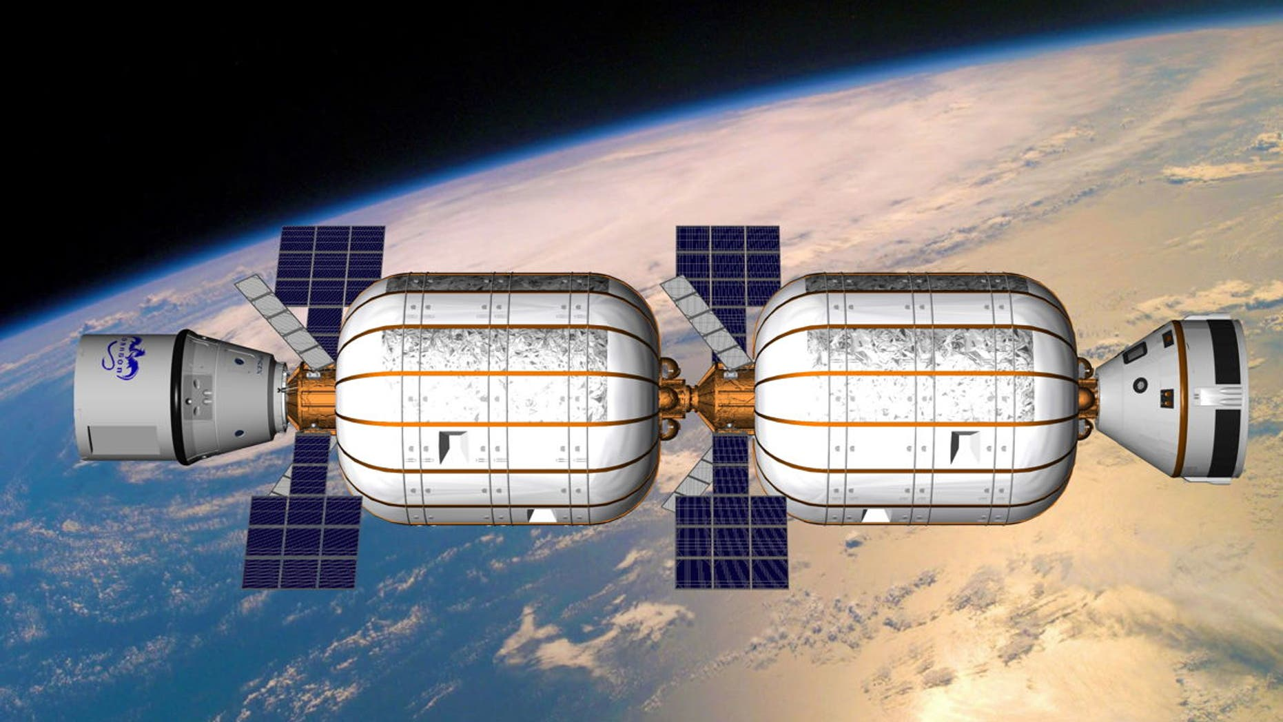An artist's illustration of two privately built Bigelow Aerospace B330 expandable habitats joined together in Earth orbit.