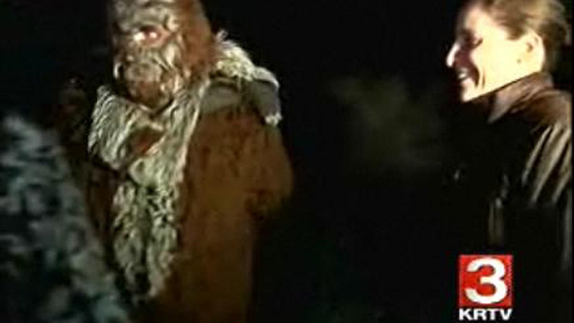 "John Peskey, a.k.a. ""Bigfoot,"" with winning hunter Catherine Dobson at the 22nd annual Elliston Bigfoot Hunt."