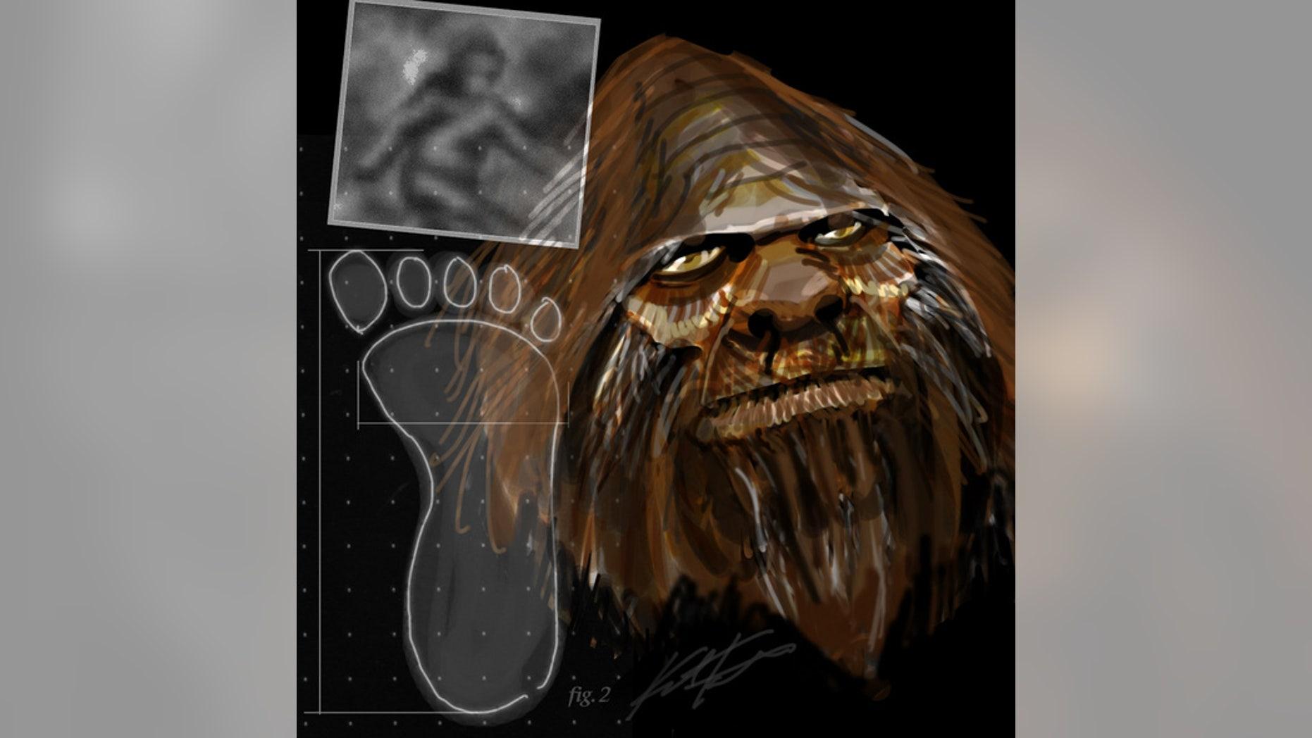 An artist's interpretation of Bigfoot.