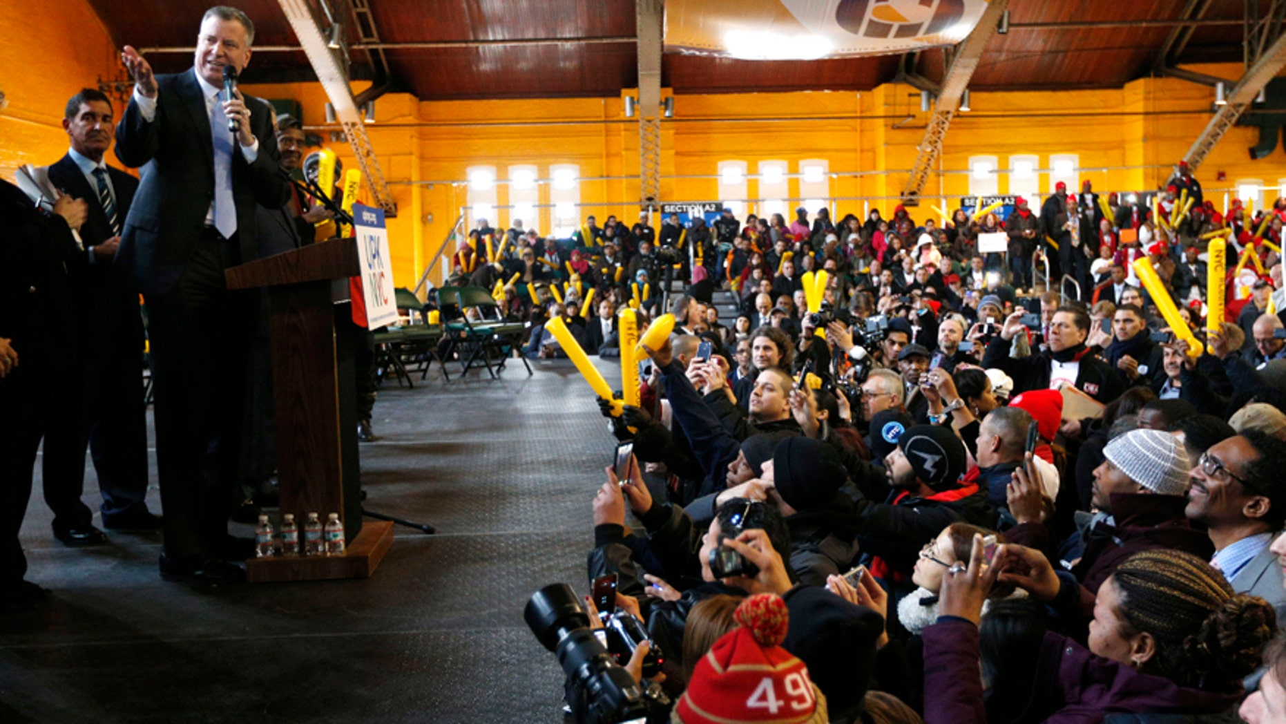 New York City Mayor Bill de Blasio speaks during a Pre K rally at the Washington Avenue Armory on Tuesday, March 4, 2014, in Albany, N.Y.