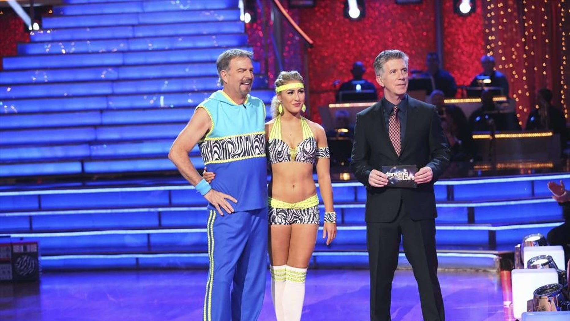 """Bill Engvall and Emma Slater appear alongside host Tom Bergeron on """"Dancing with the Star."""""""