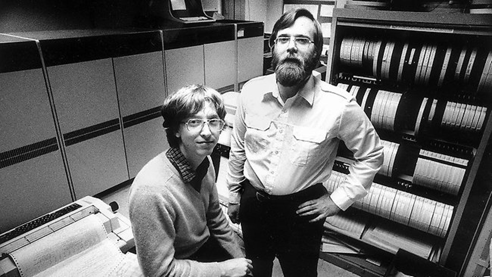Microsoft founders Bill Gates, left, and Paul Allen pictured in 1981.