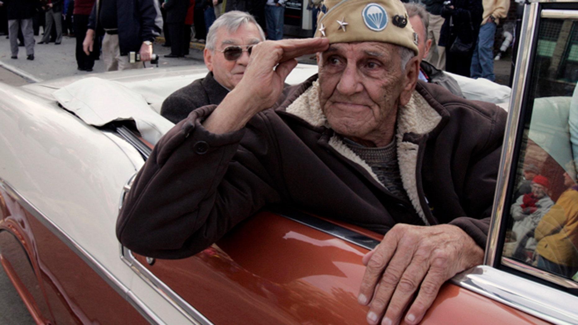 """Nov. 11, 2004: William """"Wild Bill"""" Guarnere participates in the Veterans Day parade in Media, Pa."""