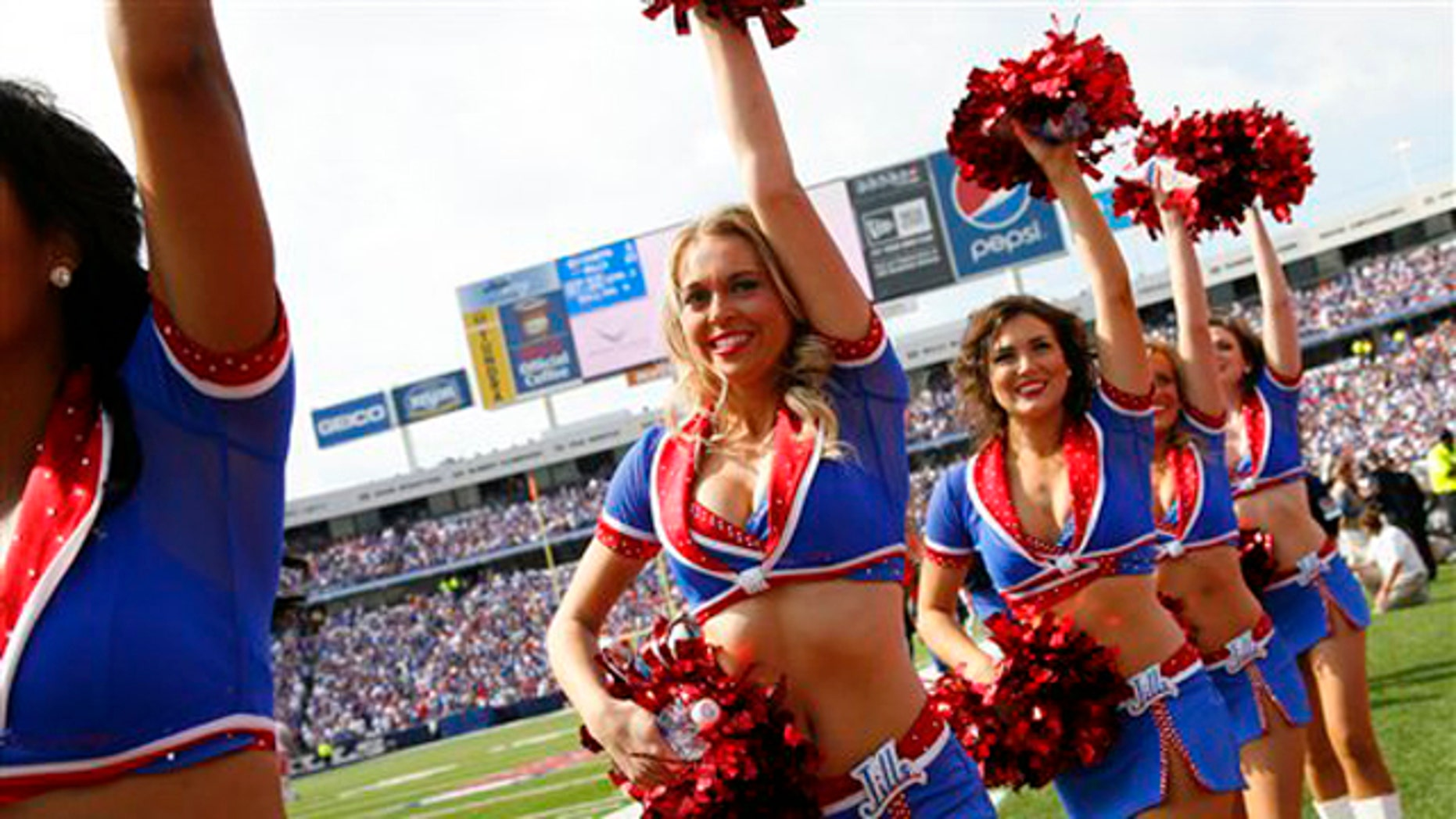 September 16, 2012: Buffalo Bills cheerleaders perform during a game against the Kansas City Chiefs in Orchard Park, N.Y. (AP Photo/Bill Wippert)