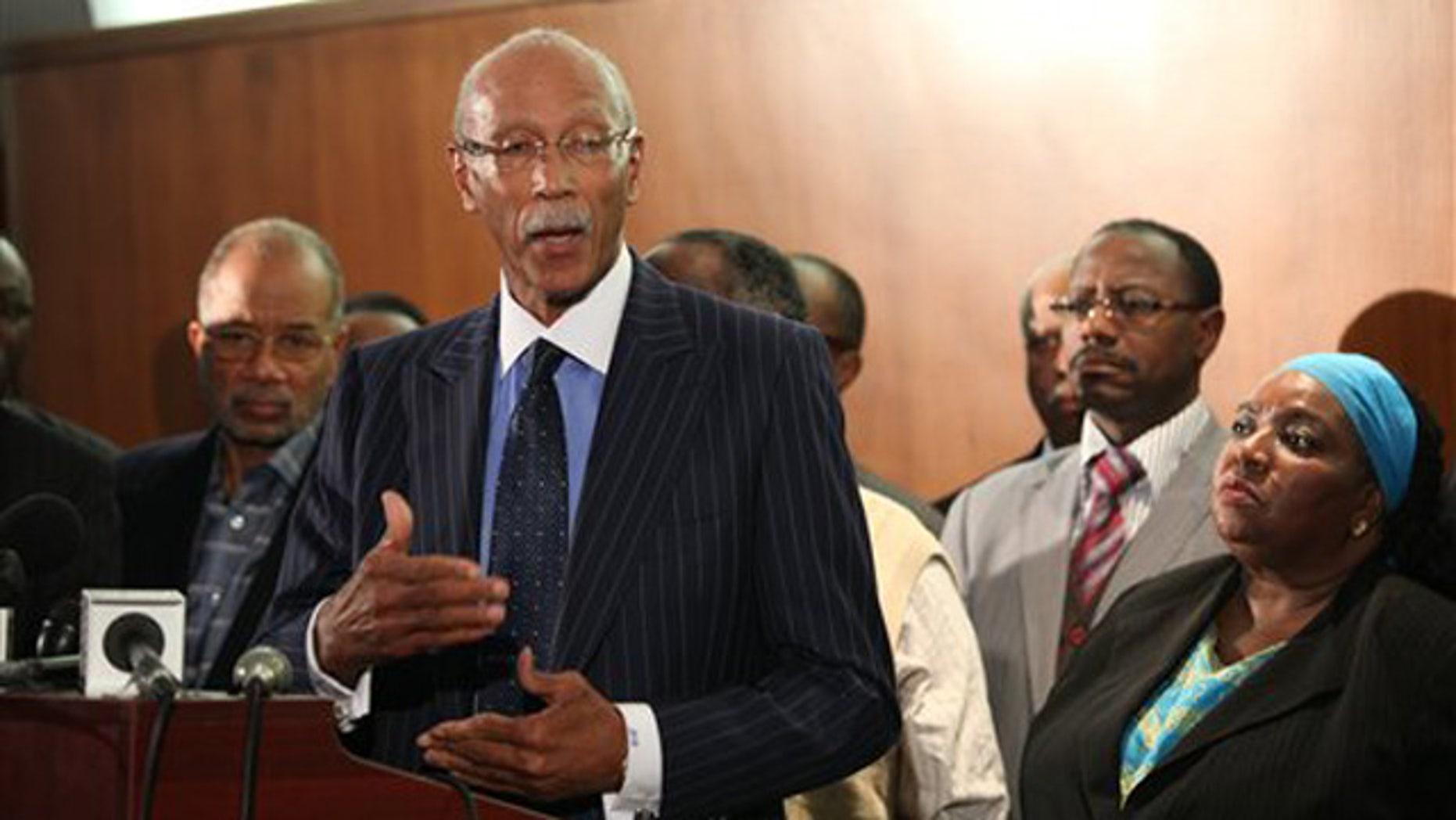Dec. 1, 2011: Detroit Mayor Dave Bing, religious leaders, labor and Detroit City Council members speak in Detroit.