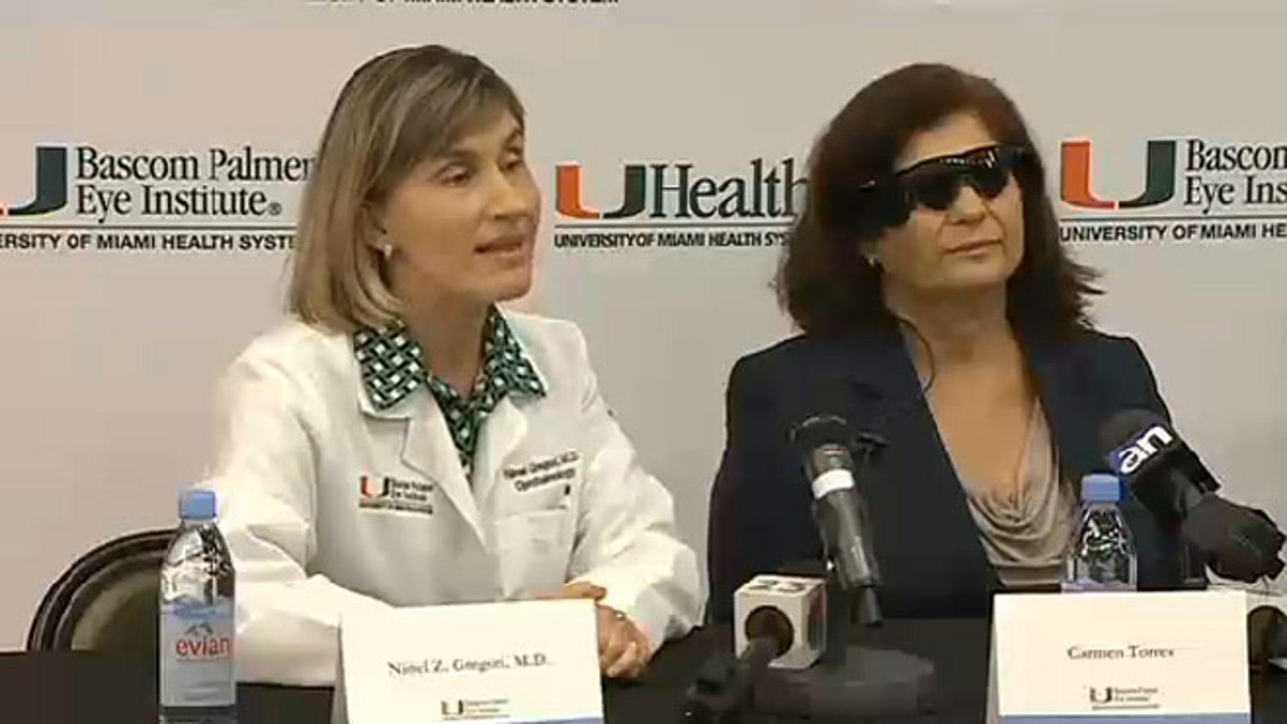 Dr. Ninel Gregori (left) of Bascom Palmer Eye Institue with patient Carmen Torres (right).