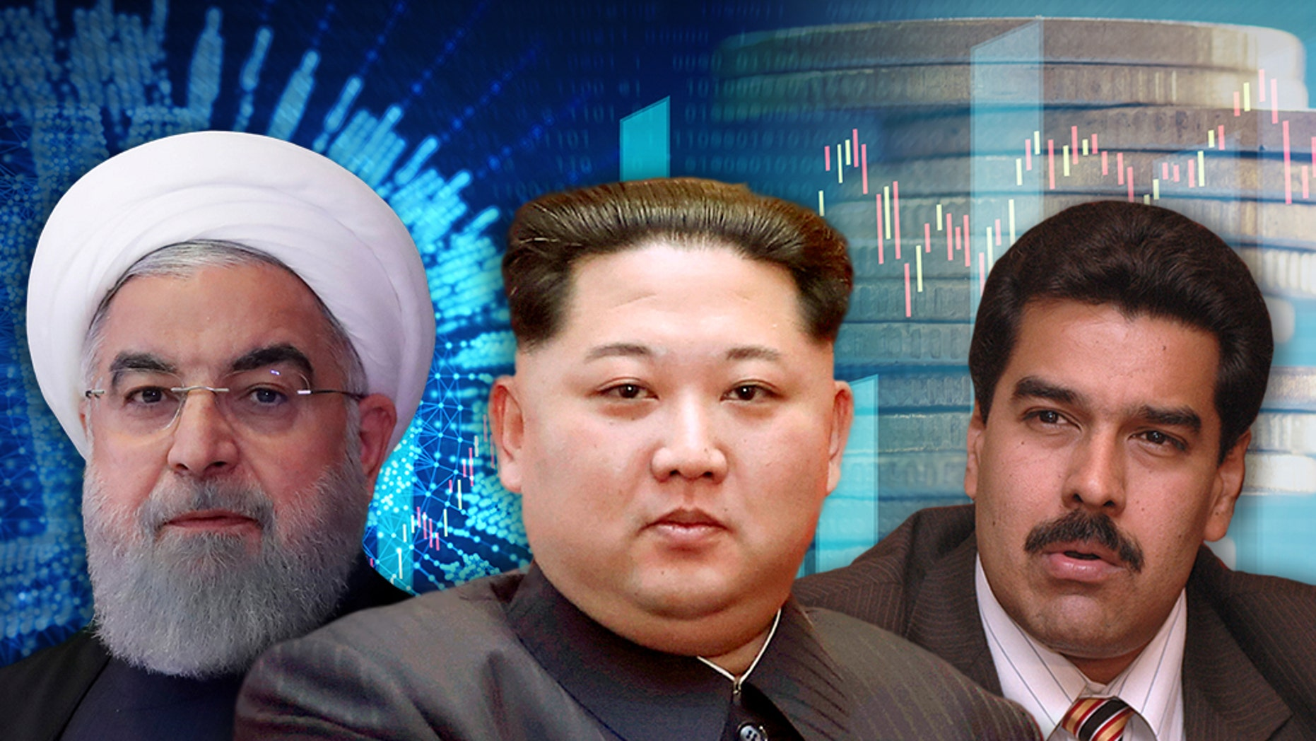 Countries including Iran (leader Hassan Rouhani left), North Korea (Kim Jong-un center) and Venezuela (Nicolas Maduro) are turning to cryptocurrencies to circumvent U.S. sanctions