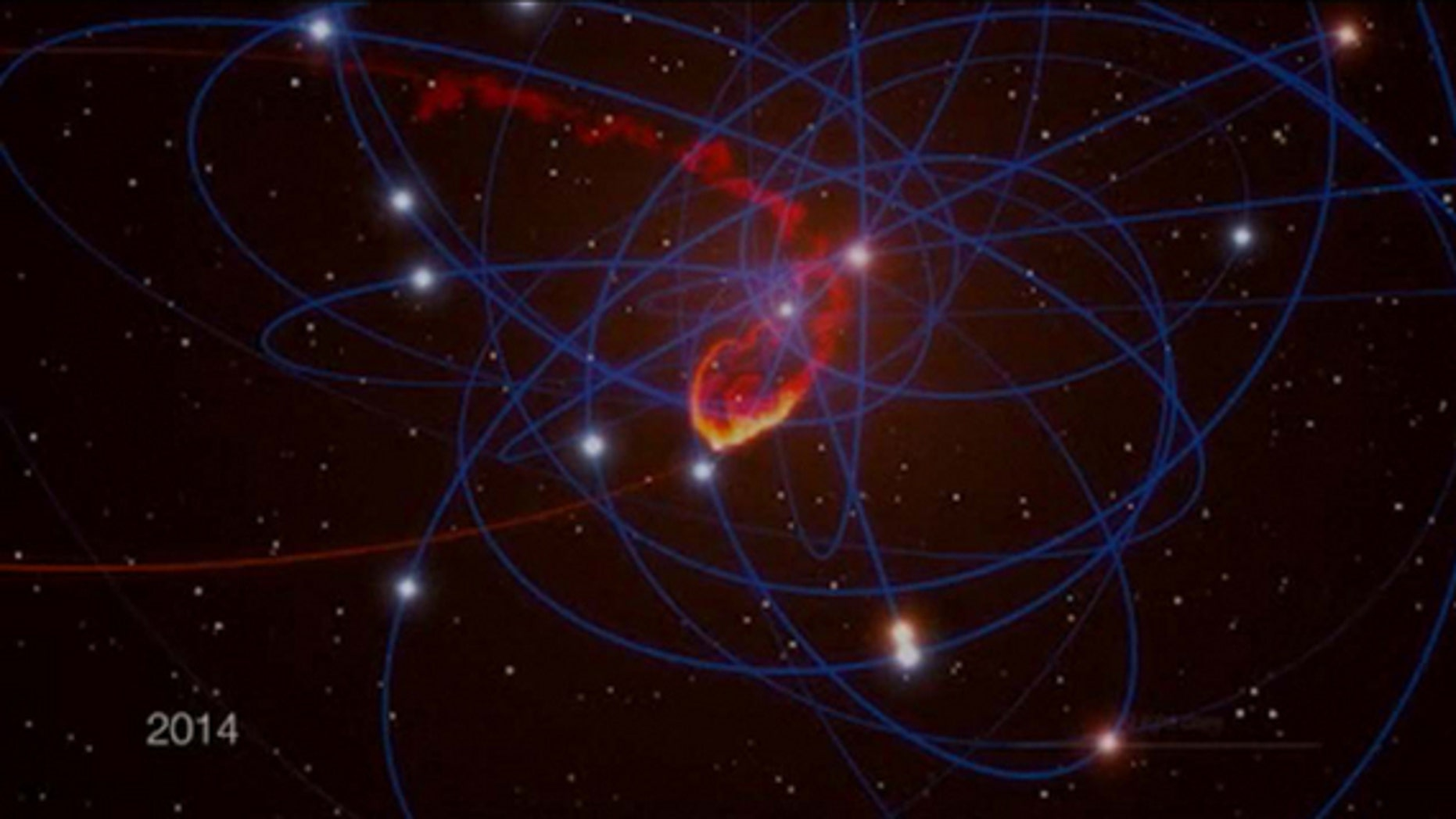 This still from a computer animation shows a simulation of a giant space cloud falling into Sagittarius A*, the supermassive black hole at the center of our own Milky Way galaxy, in mid-2013. Image added on July 2, 2012.
