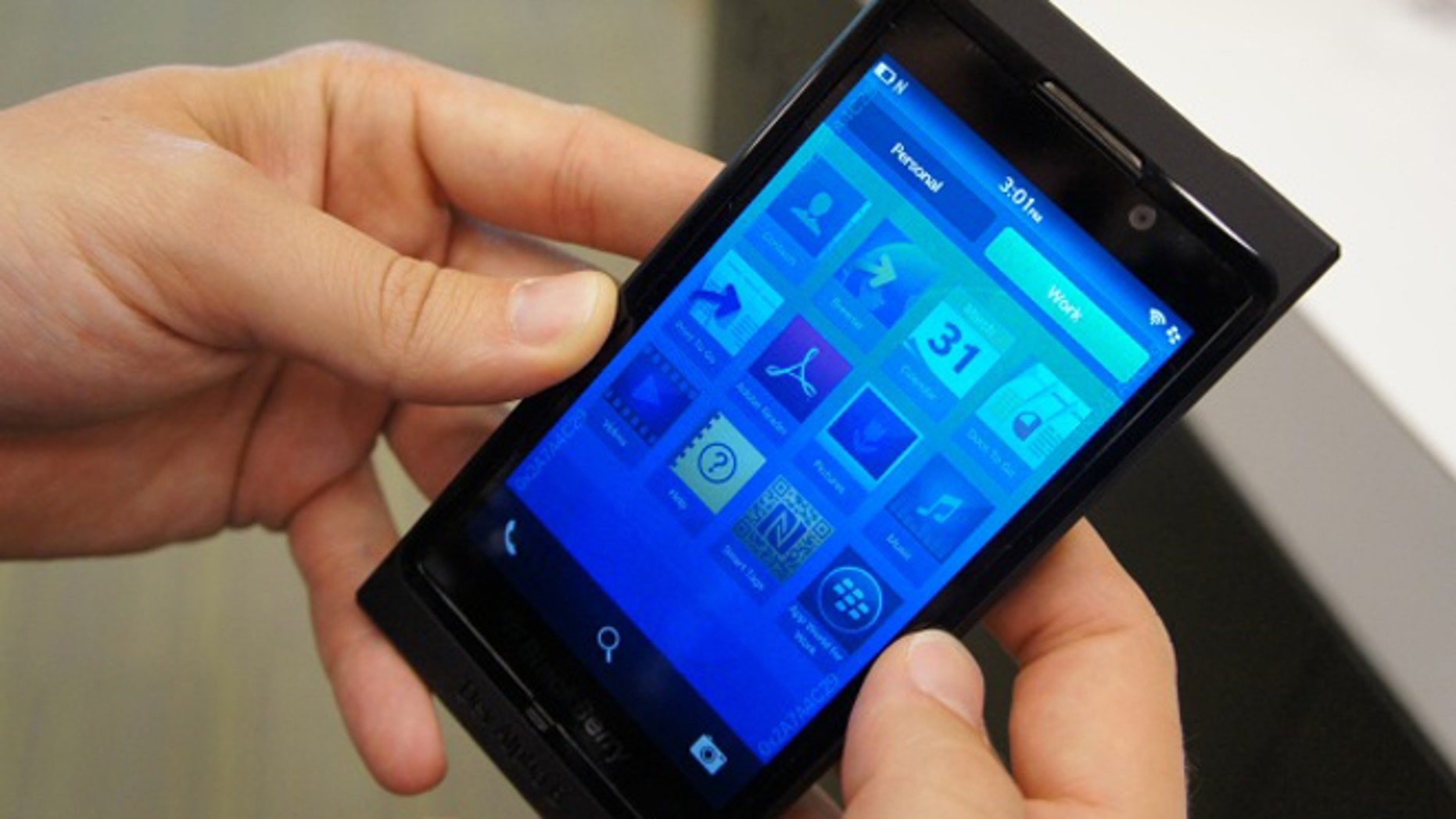 A preview version of the Blackberry 10 smartphone, shown off at the 2013 Consumer Electronics Show in Las Vegas.