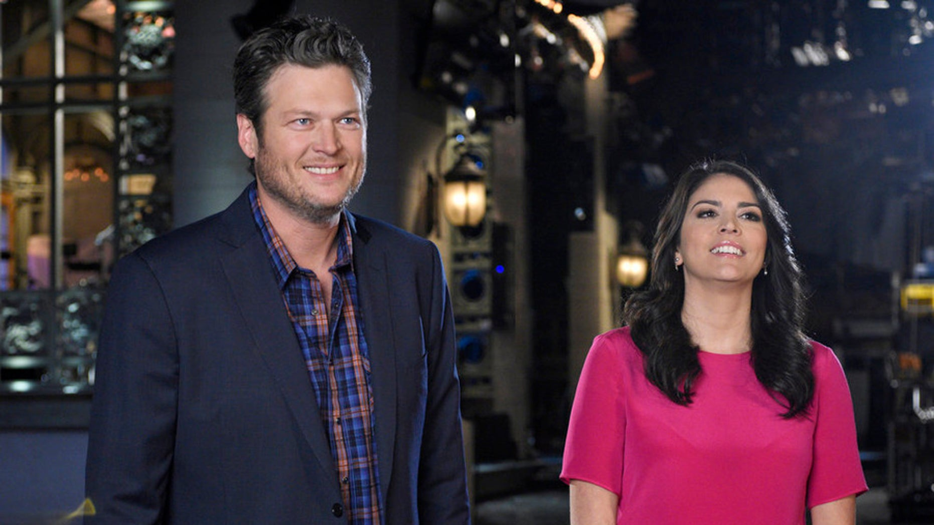 """Jan 20, 2015.  Blake Shelton and Cecily Strong on """"SNL."""""""