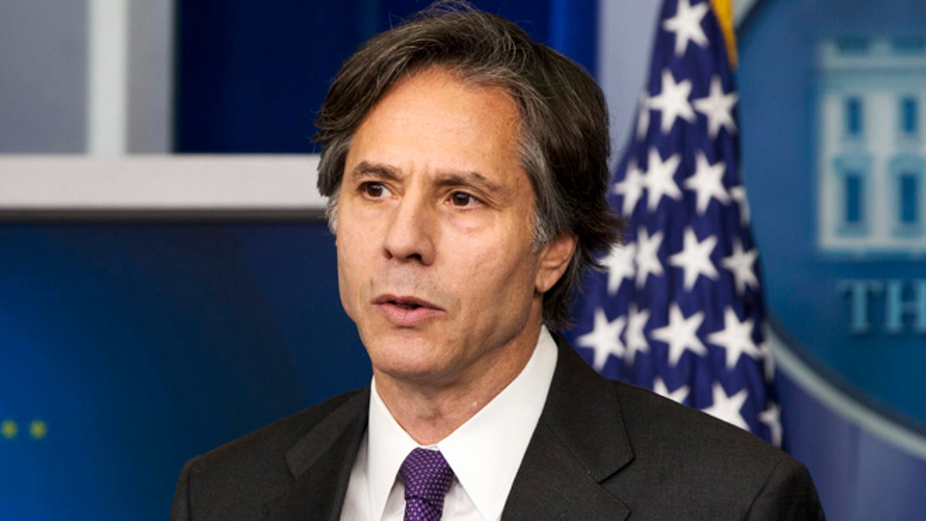 July 28, 2014: Deputy National Security Adviser Tony Blinken speaks about Russia, Ukraine as well as the Middle East conflict during an appearance at the daily press briefing at the White House in Washington.