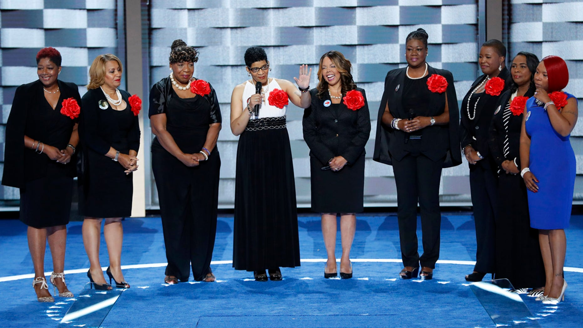 July 26, 2016: Sybrina Fulton, Geneva Reed-Veal, Lucy McBath, Gwen Carr, Cleopatra Pendleton, Maria Hamilton, Lezley McSpadden and Wanda Johnson from Mothers of the Movement speak during the second day of the Democratic National Convention in Philadelphia