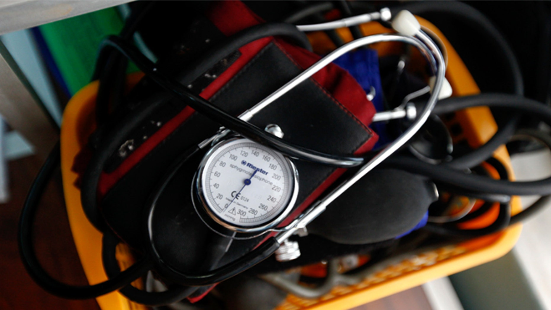 A blood-pressure machine is seen inside a basket with other medical devices (REUTERS/Yorgos Karahalis).