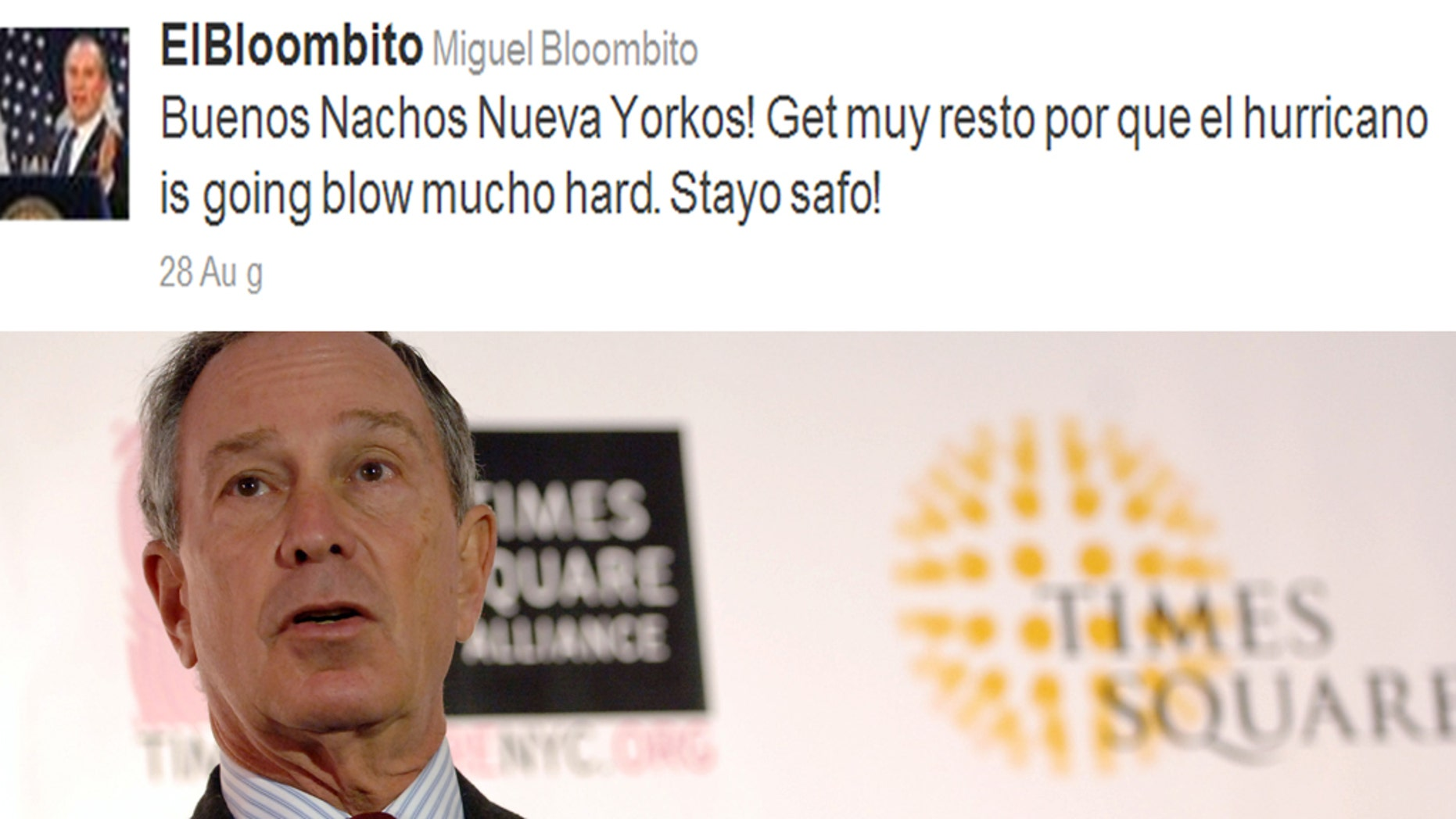 A twitter feed, @elbloombito, was launched poking fun at Michael Bloomberg's very earnest yet somewhat grating attempt at speaking Español.