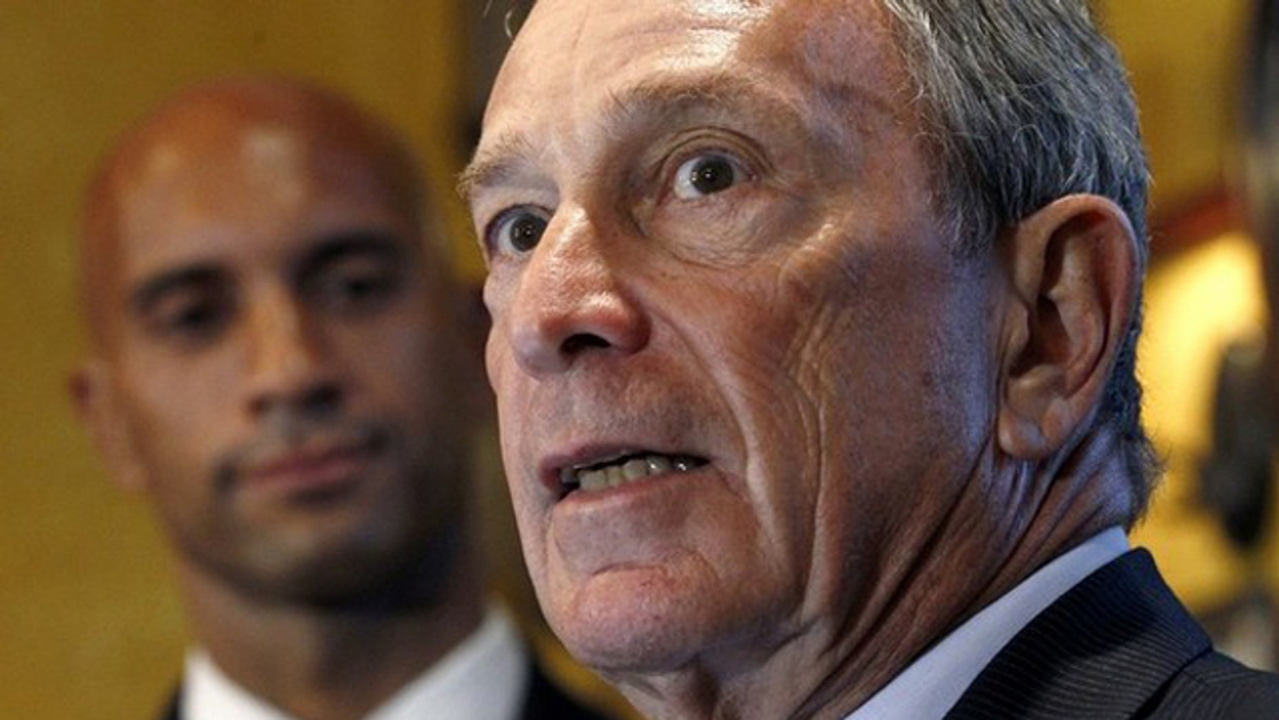 New York City Mayor Michael Bloomberg speaks during his endorsement of Washington D.C. Mayor Adrian Fenty in Washington Aug. 17. (Reuters Photo)