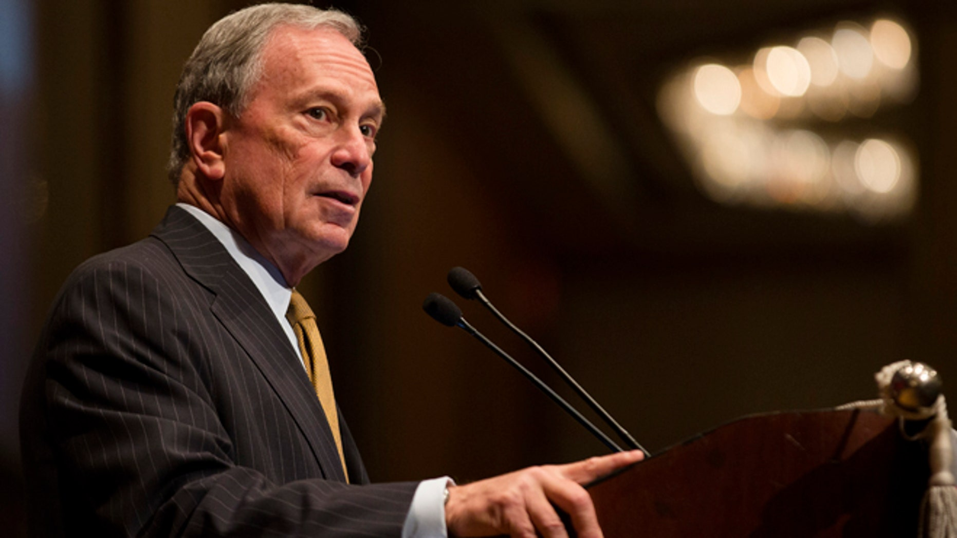 FILE: May 30, 2013: Mayor Michael Bloomberg speaks at the Real Estate Board of New York, in New York.