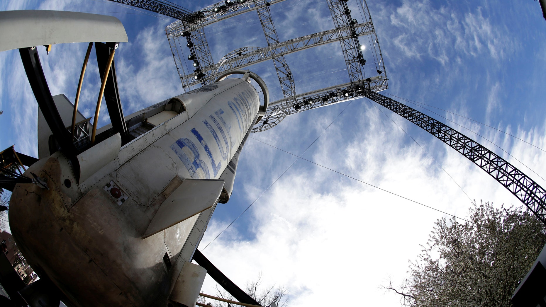 File photo: A general view of the Blue Origin New Shepard rocket booster at the 33rd Space Symposium in Colorado Springs, Colorado, United States April 5, 2017. (REUTERS/Isaiah J. Downing)