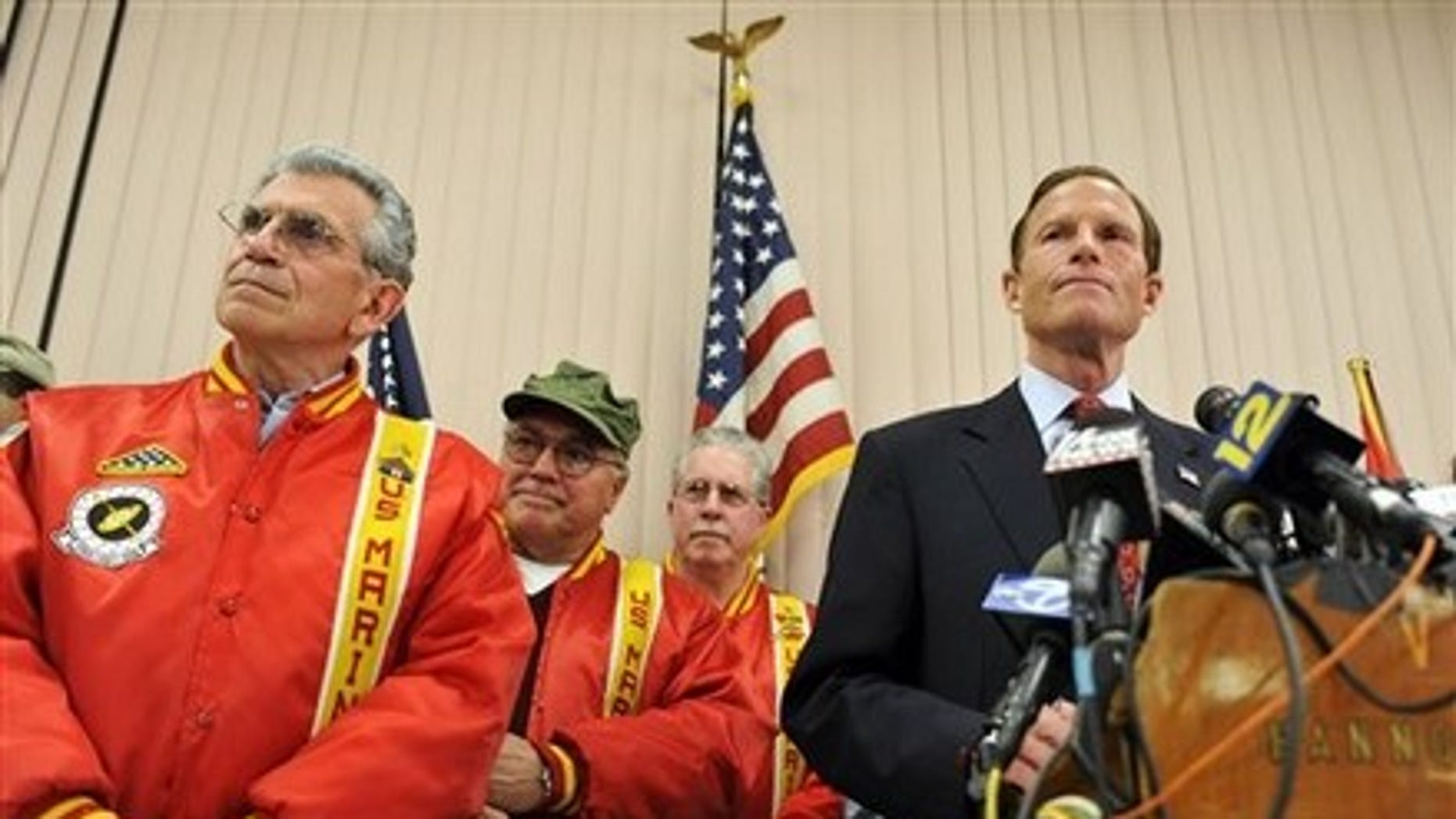FILE: Connecticut Attorney General and Democratic candidate for U.S. Senate Richard Blumenthal stood with veterans in May to discuss misstatements about his military service during the Vietnam War.  (AP Photo)