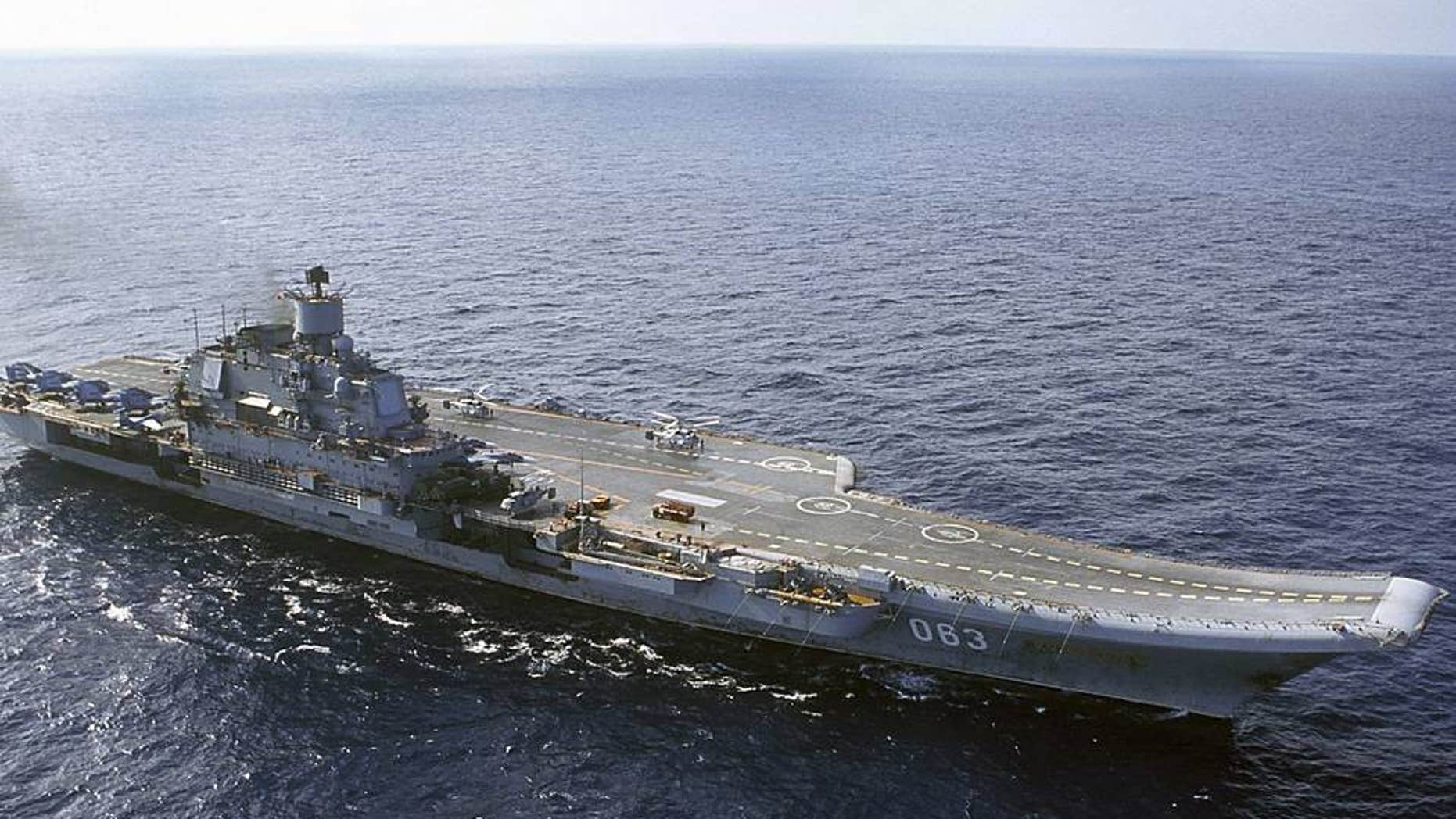 The Admiral Kuznetsov carrier sails in the Barents Sea, Russia.