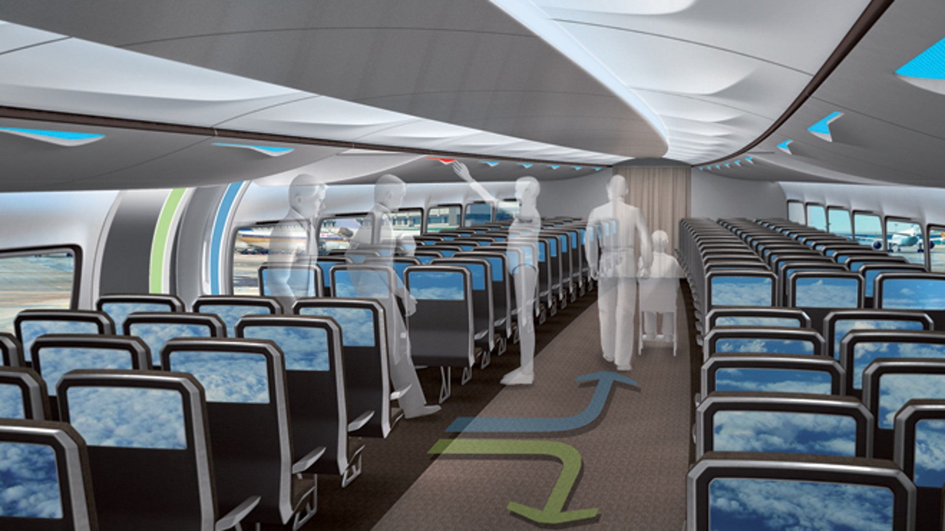 Boarding from the center will cut the clutter as you enter the plane cabin.