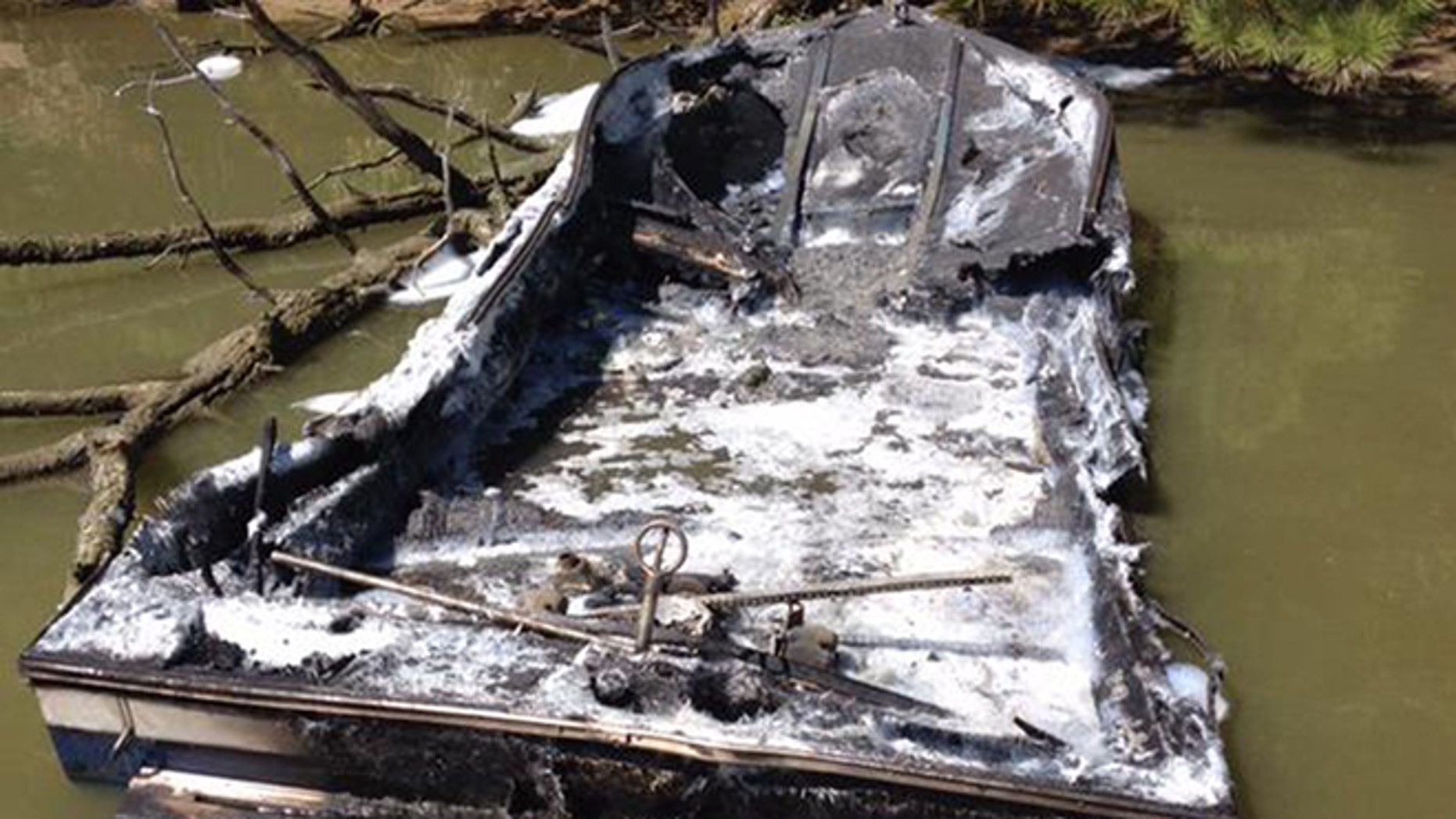 Three children were injured when this boat exploded in Maryland on Saturday, September 19, 2015