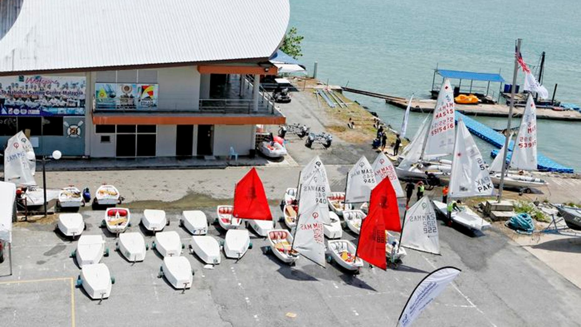 Competitors' boats dot the landscape at Langkawi, Malaysia, site of the ISAF Youth Sailing World Championship. (Credit: Christophe Launay/World Sailing)