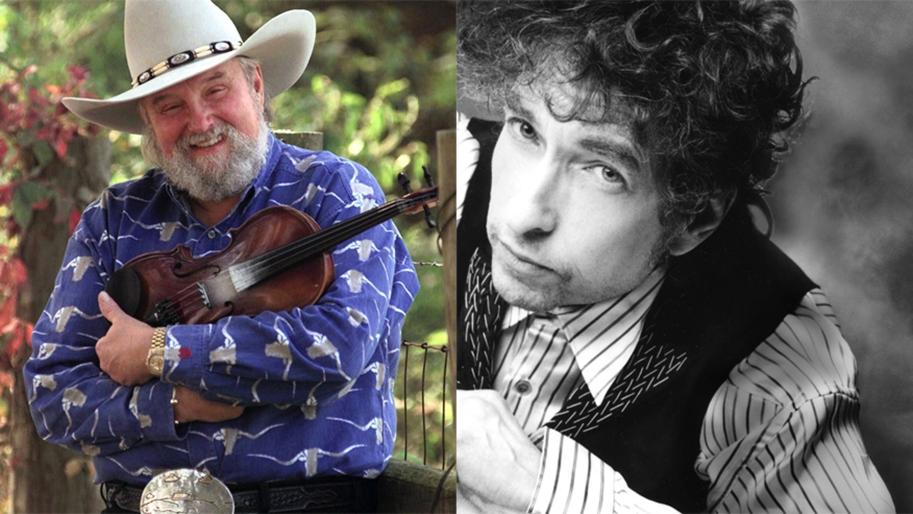 Charlie Daniels (L) and Bob Dylan (R).