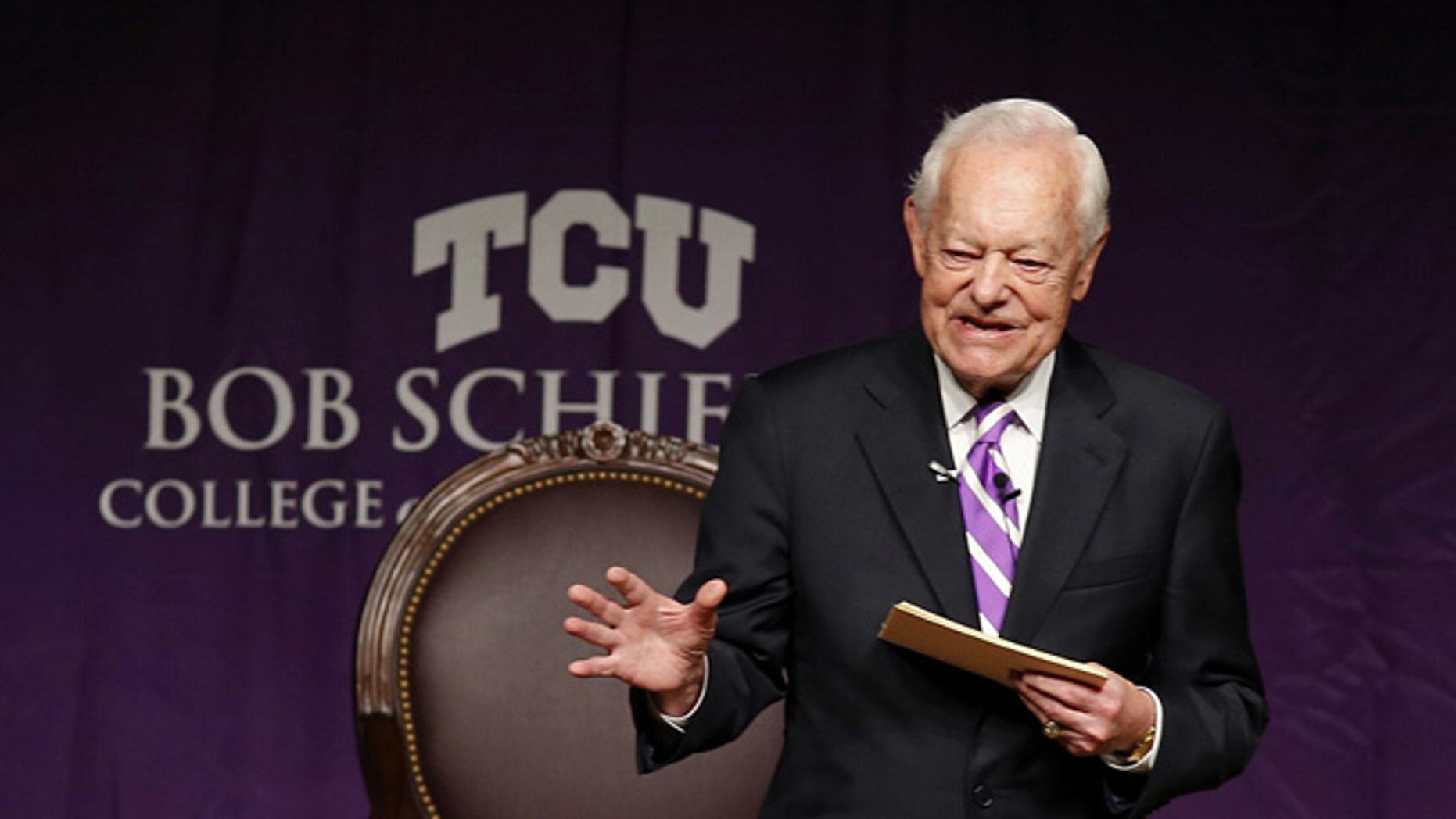 April 8, 2015: Bob Schieffer opens the Schieffer Symposium on the News at TCU in Fort Worth, Texas.