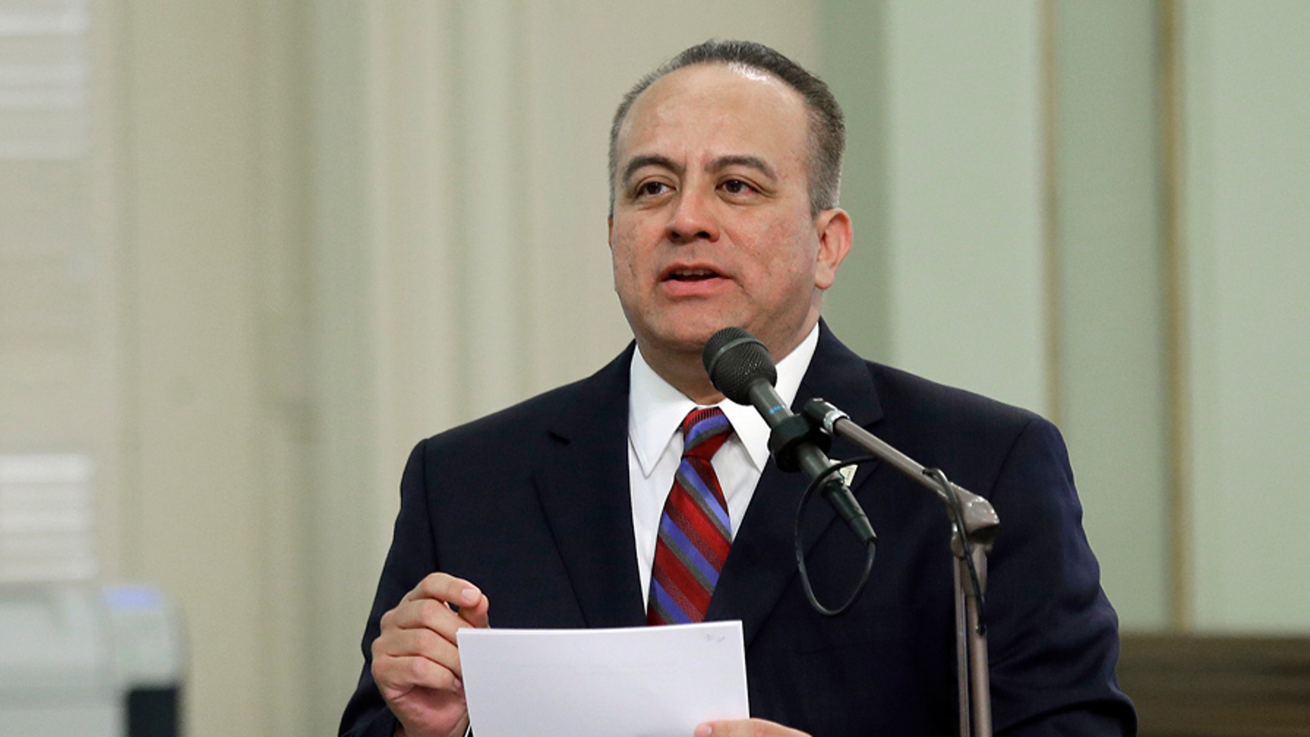 FILE - In this May 4, 2017, file photo, Assemblyman Raul Bocanegra, D-Los Angeles, speaks at the Capitol in Sacramento, Calif. Bocanegra says he's stepping down amid allegations of sexual misconduct.