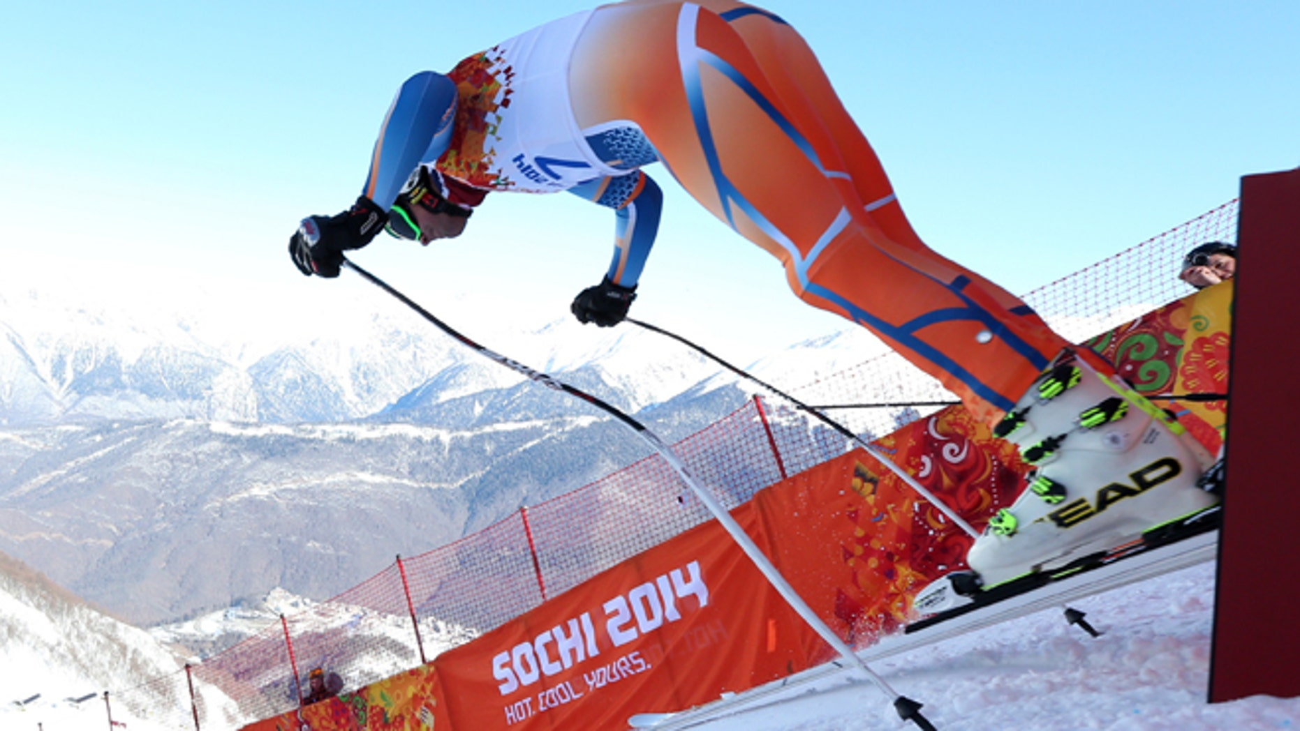Feb. 6, 2014: Norway's Aksel Lund Svindal starts in a men's downhill training run for the 2014 Winter Olympics in Krasnaya Polyana, Russia.